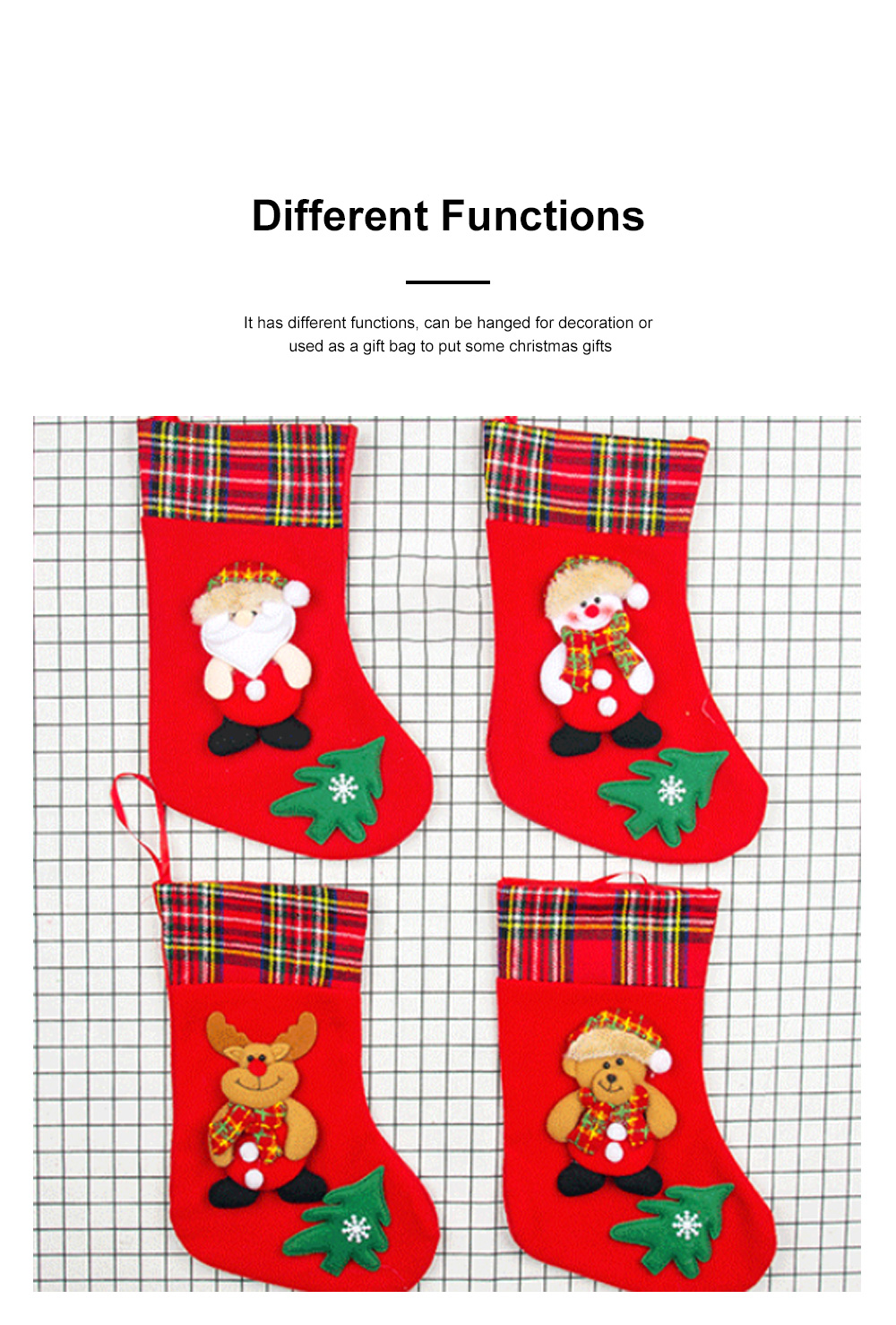 Top Selling Design Stocking Christmas Decorations Fabric Plaid Santa Claus Christmas Socks Gift Bag 2