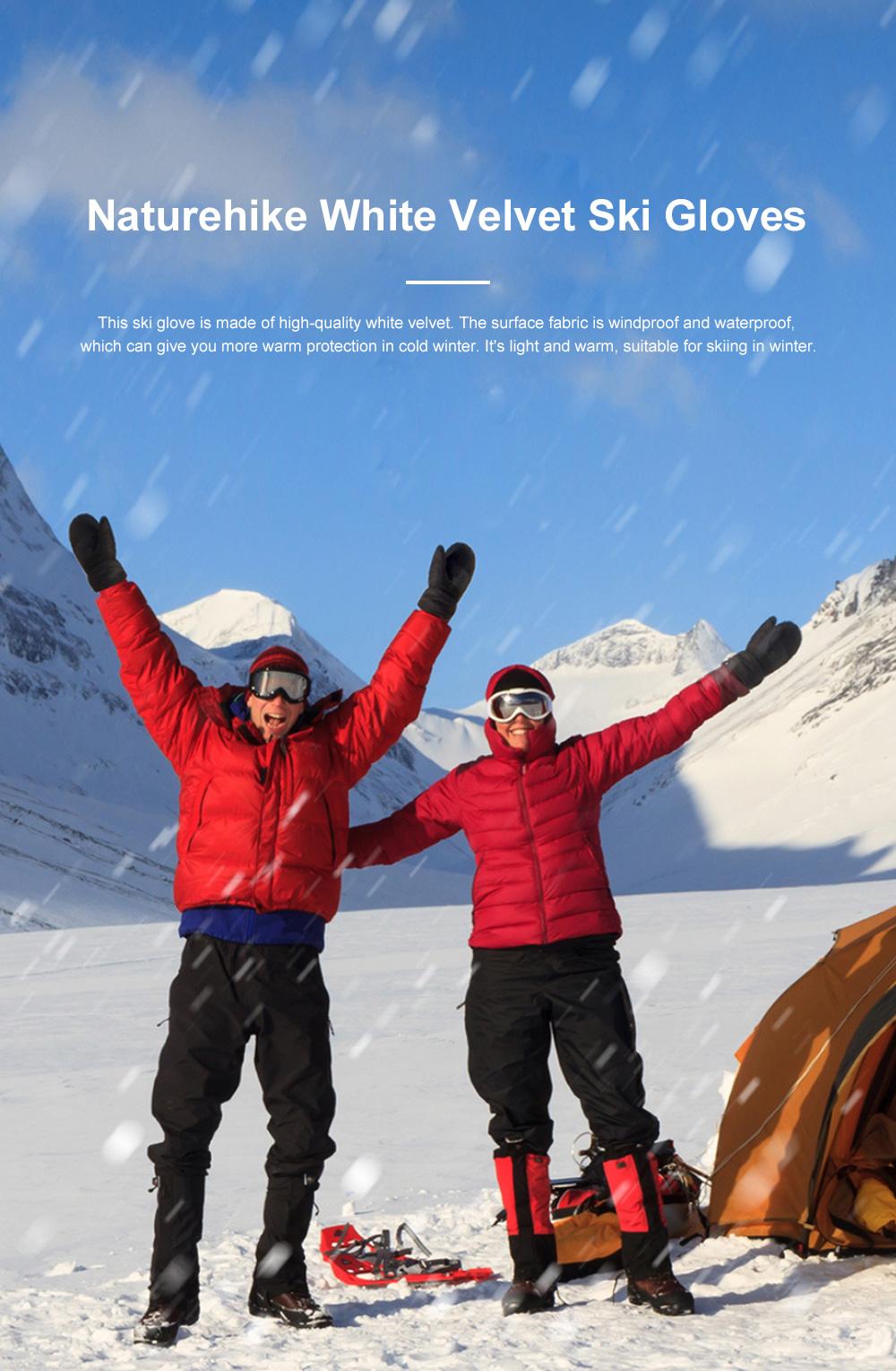 Naturehike White Velvet Gloves Outdoor Gloves Warm Winter Gloves Ski Cold Proof Mittens 0