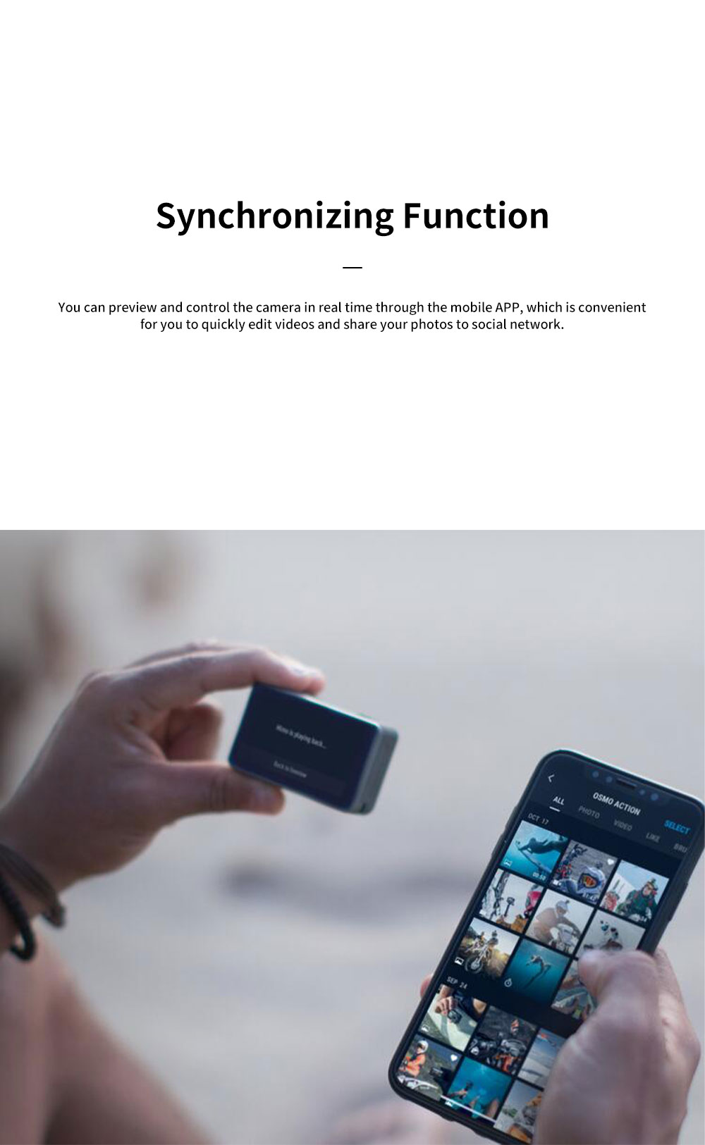 DJI Osmo Action Camera Professional Multifunctional Waterproof Sports Camera with Dual HD Screen Time-lapse Shooting Slow-motion Record Voice Control Easy Operation 10
