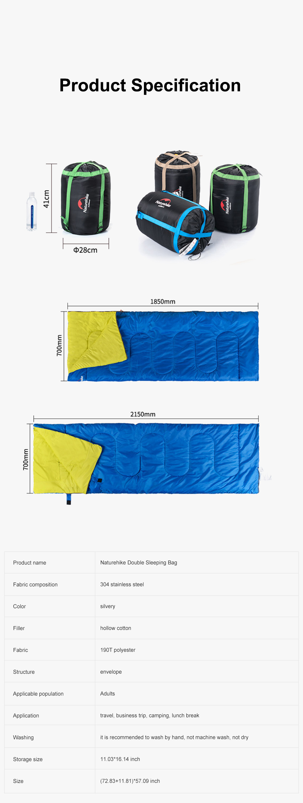 Naturehike Sleeping Bag for Two Adult Outdoor Camping Tent Cotton Sleeping Bag for Lunch Break in Four Seasons Office 7