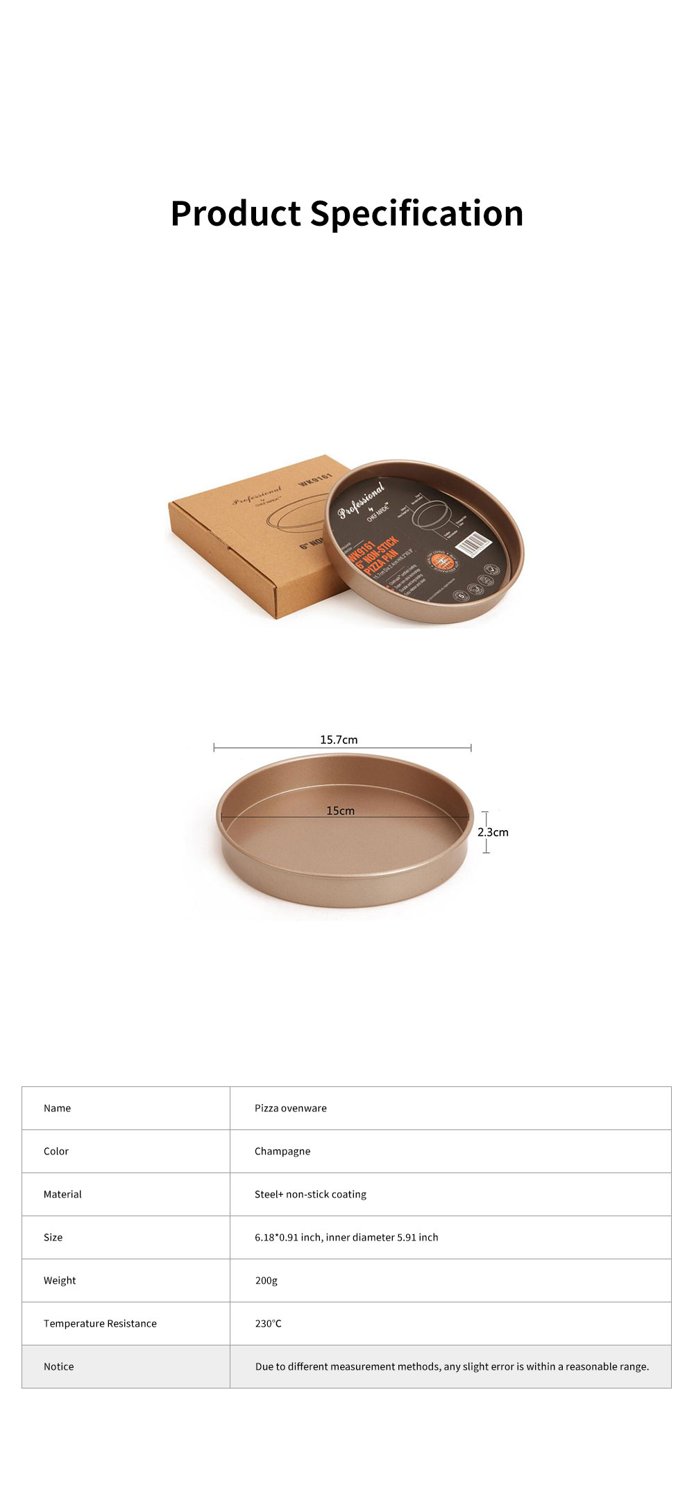 Chefmade Delicate Champagne 6-inch Non-stick Pizza Bread Baking Pan Cake Mould Ovenware Steel Bakeware Kitchen Assistant Tool 5