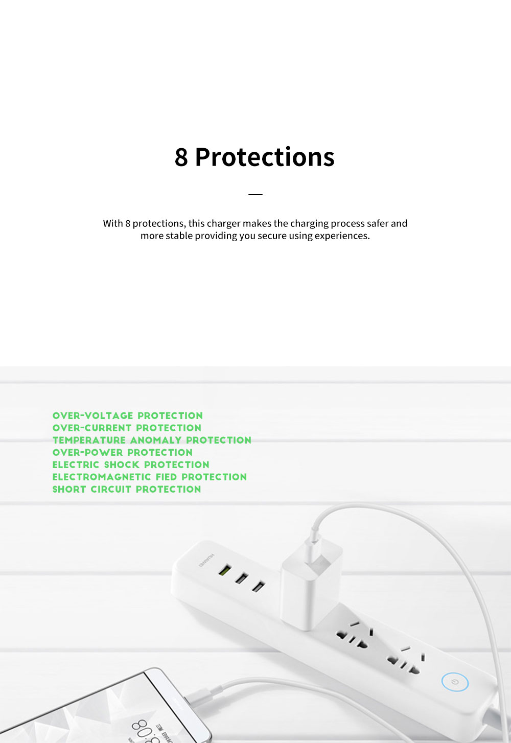 Light Portable Super Quick Charging Wide Compatibility Original Huawei Charger with 8 Protections 6-Level Energy Efficiency Standard 4