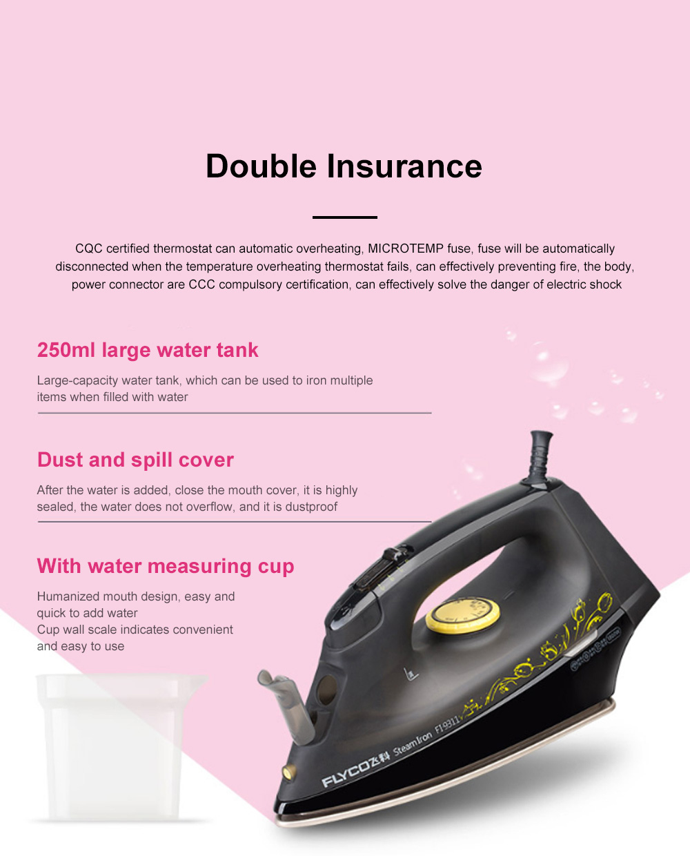 FLYCO Electric Flat Iron Auto-shut Off Anti-calcium Anti-drip Light Weight Adjustable Temperature Control Electric Steam Iron 4