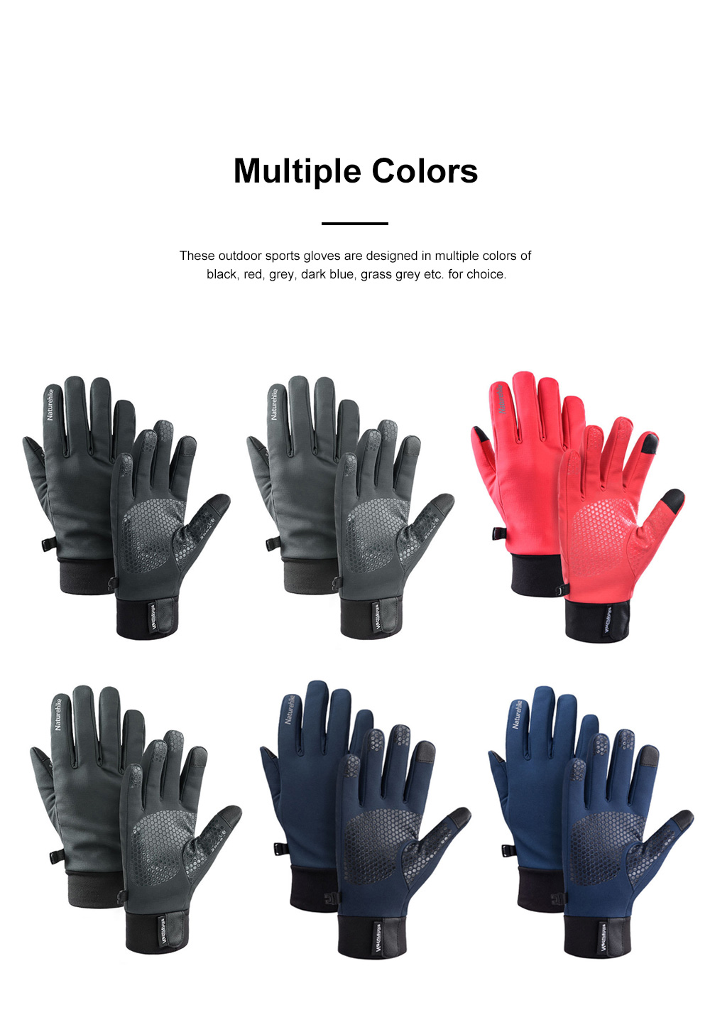 Naturehike Warm Gloves for Outdoors Running Hiking Waterproof Thermal Sports Gloves Touch Screen Designed Gloves 6