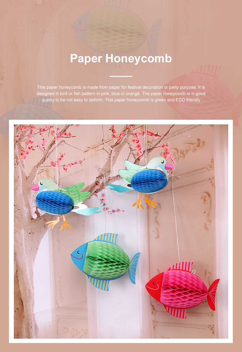 6pcs Festive Decoration Bird Fish Paper Honeycomb Party Use Three-dimensional Card Fish Paper Honeycomb Paper Flowers Ball 0