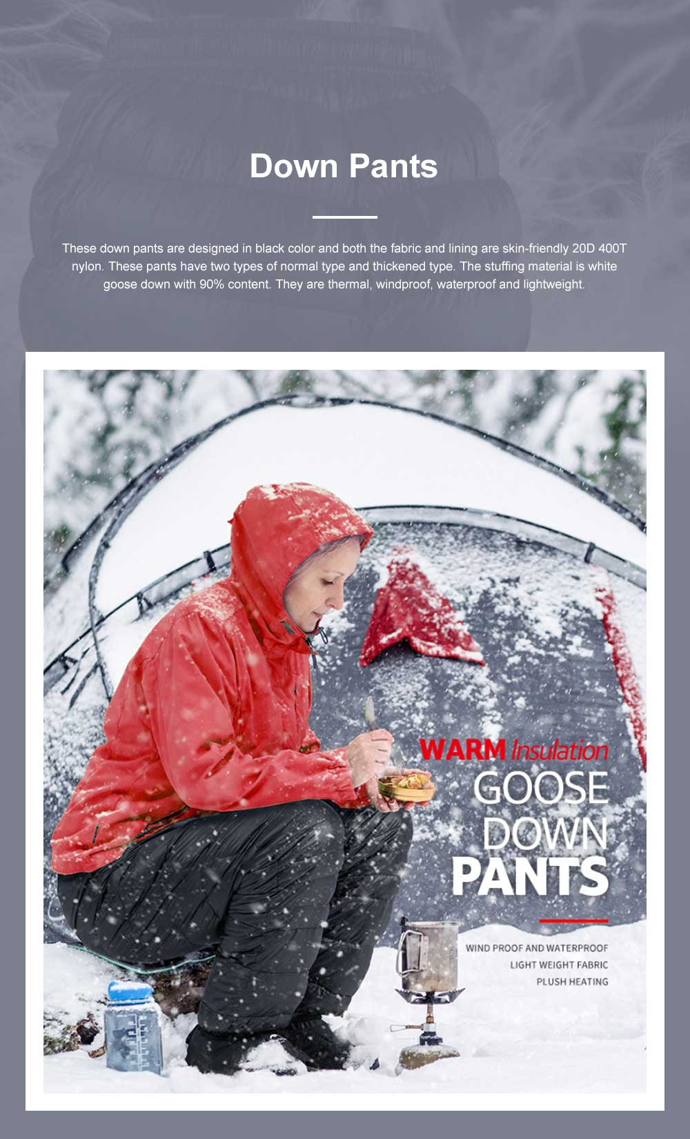 Naturehike White Goose Down Pants for Winter Sports Waterproof Thermal Winter Trousers Windproof Down Wadded Trousers Down Pants 0