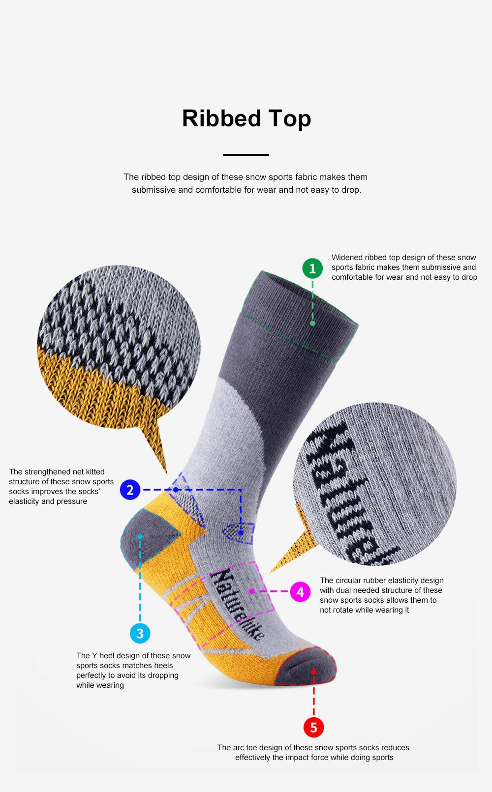 Naturehike Outdoor Snow Sports Socks for Climbing Cold Area Travelling Coolmax Quick-dry Socks Comfortable Thermal Socks 2