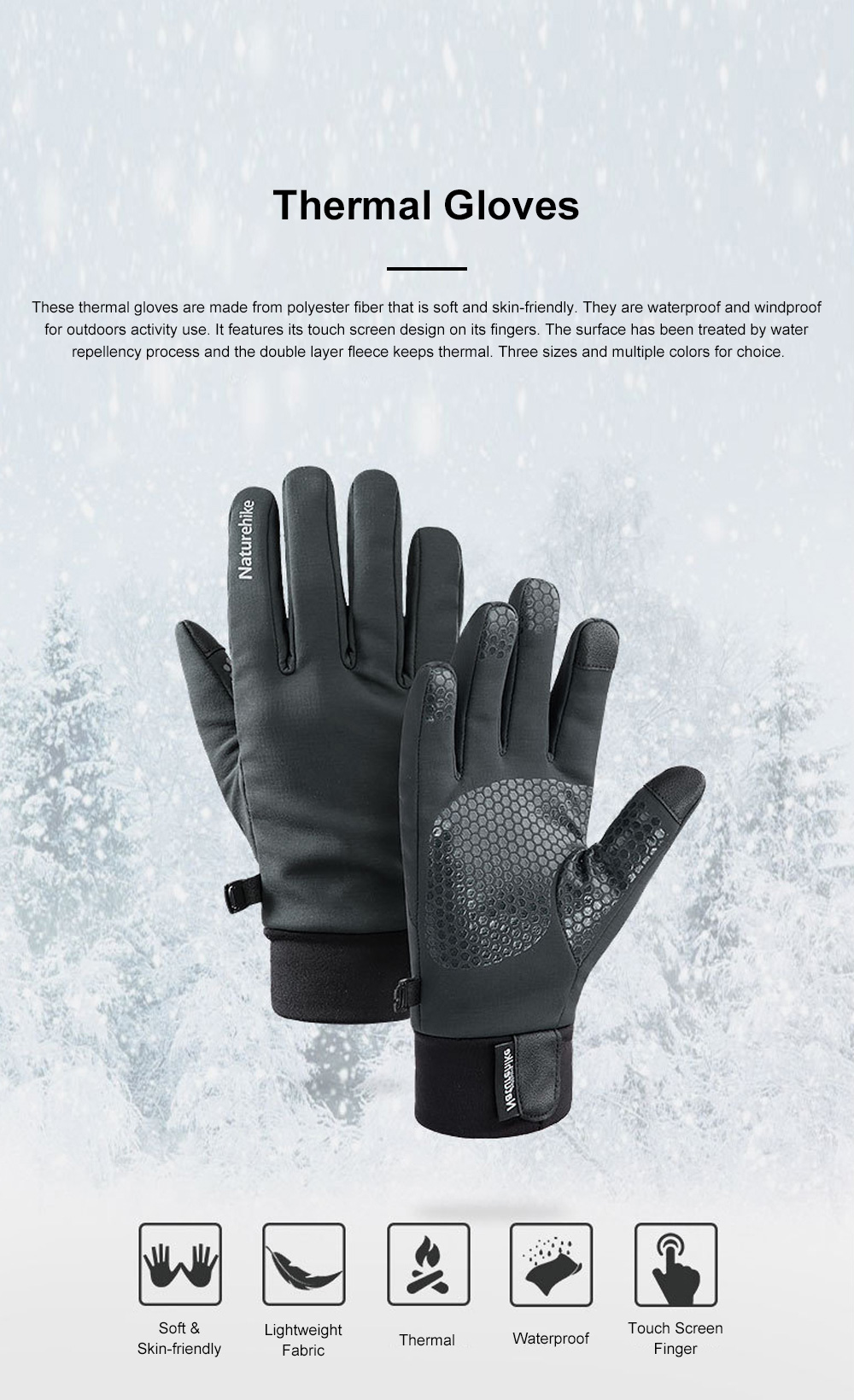Naturehike Warm Gloves for Outdoors Running Hiking Waterproof Thermal Sports Gloves Touch Screen Designed Gloves 0