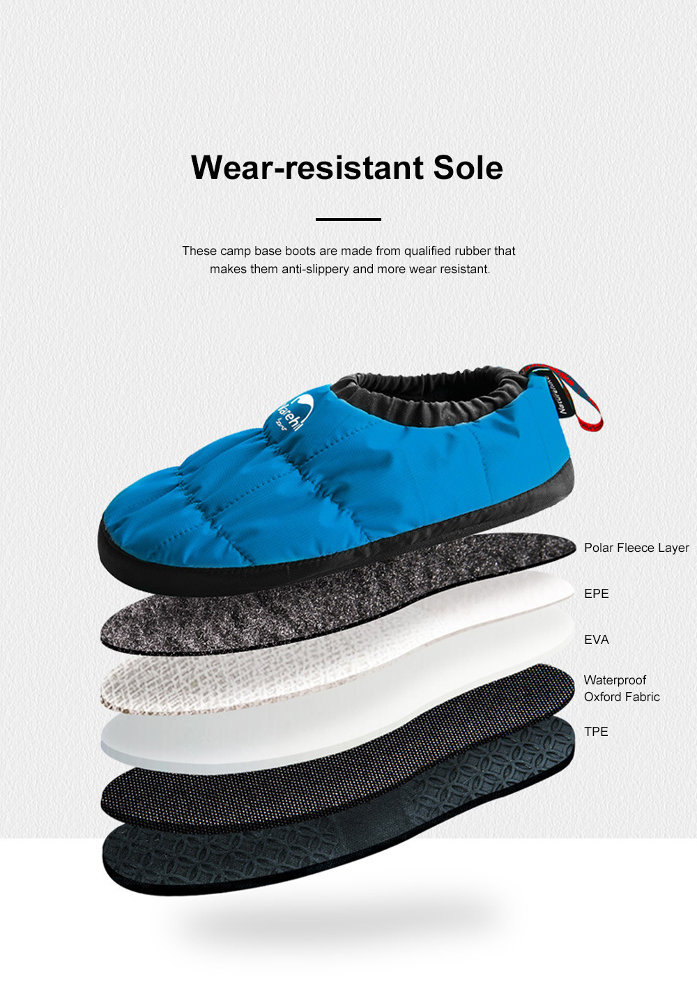 Naturehike Camp Base Boots for Home Outdoors Use Thermal Breathable Camp Shoes Waterproof Lightweight Fabric Camp Shoes 4