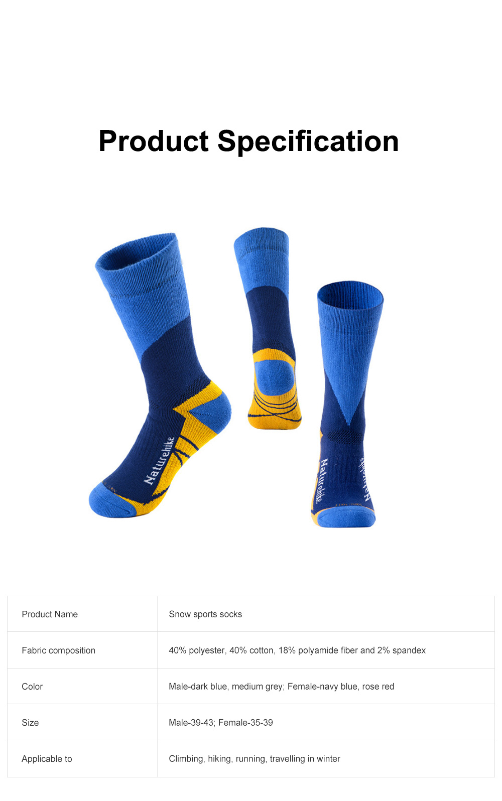 Naturehike Outdoor Snow Sports Socks for Climbing Cold Area Travelling Coolmax Quick-dry Socks Comfortable Thermal Socks 9