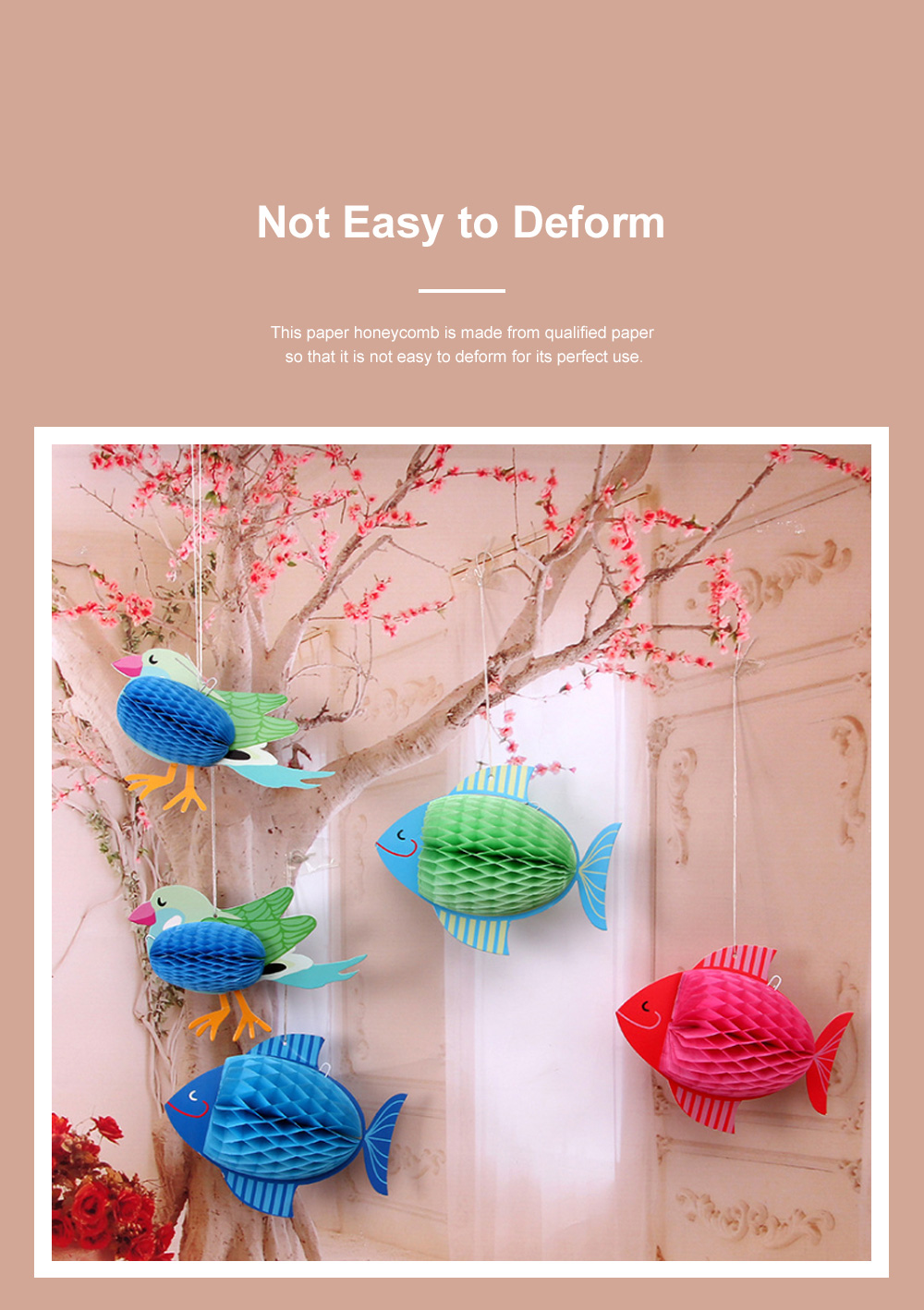 6pcs Festive Decoration Bird Fish Paper Honeycomb Party Use Three-dimensional Card Fish Paper Honeycomb Paper Flowers Ball 2