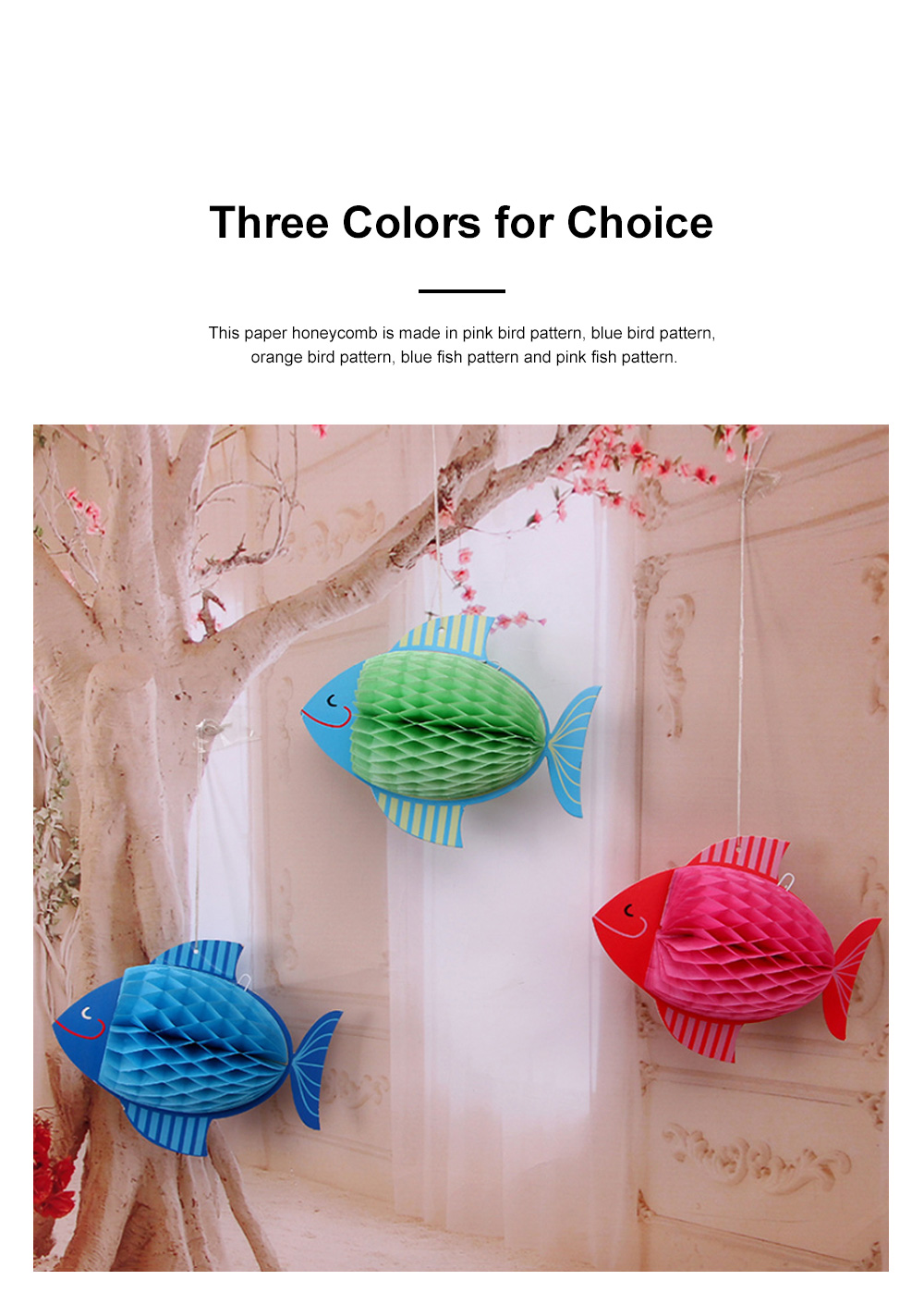 6pcs Festive Decoration Bird Fish Paper Honeycomb Party Use Three-dimensional Card Fish Paper Honeycomb Paper Flowers Ball 1