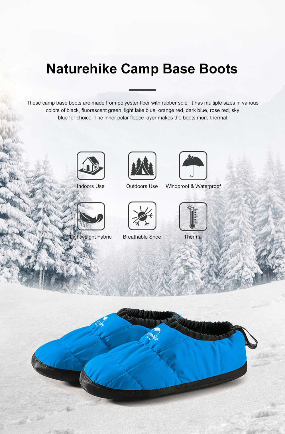 Naturehike Camp Base Boots for Home Outdoors Use Thermal Breathable Camp Shoes Waterproof Lightweight Fabric Camp Shoes 0