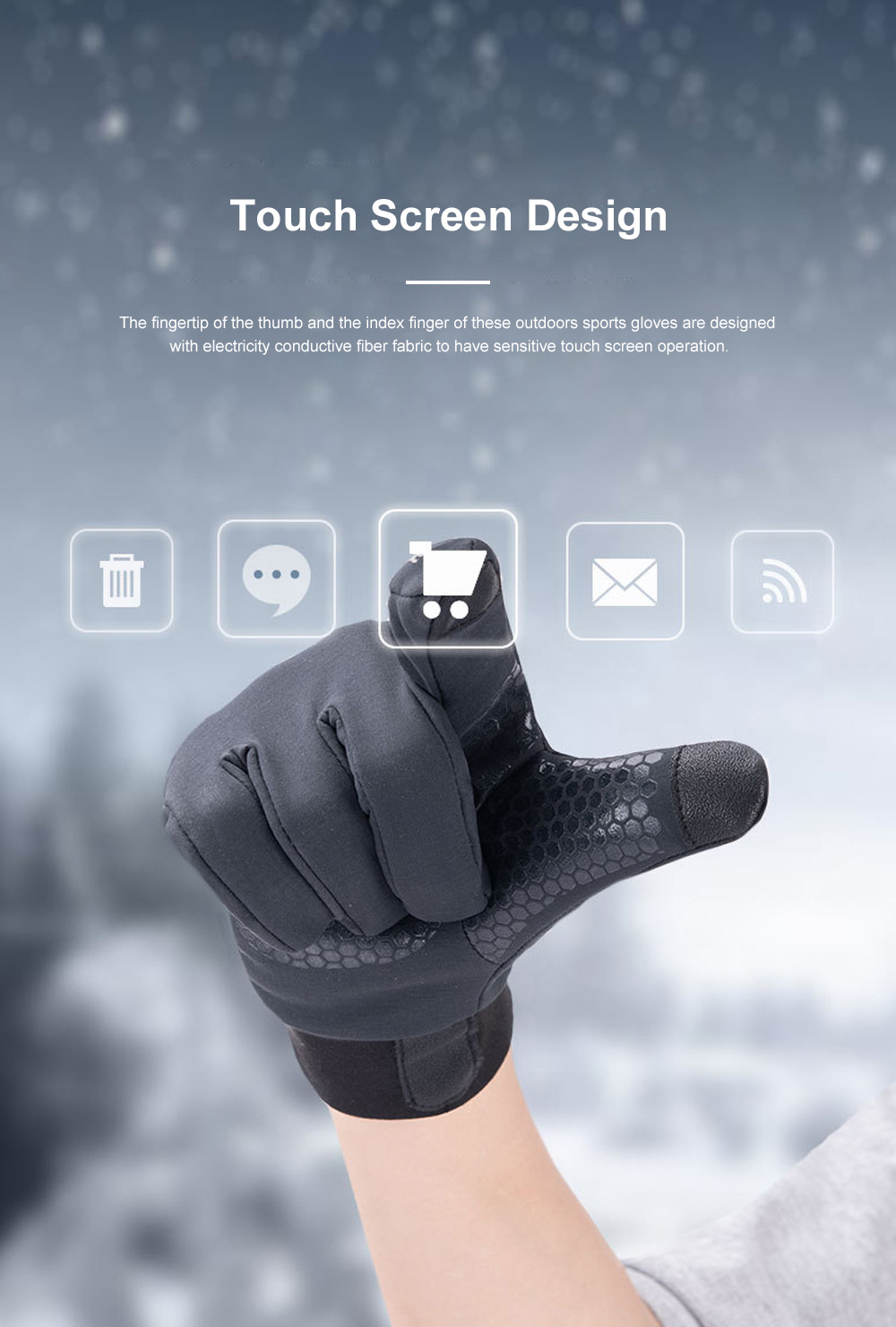 Naturehike Warm Gloves for Outdoors Running Hiking Waterproof Thermal Sports Gloves Touch Screen Designed Gloves 3