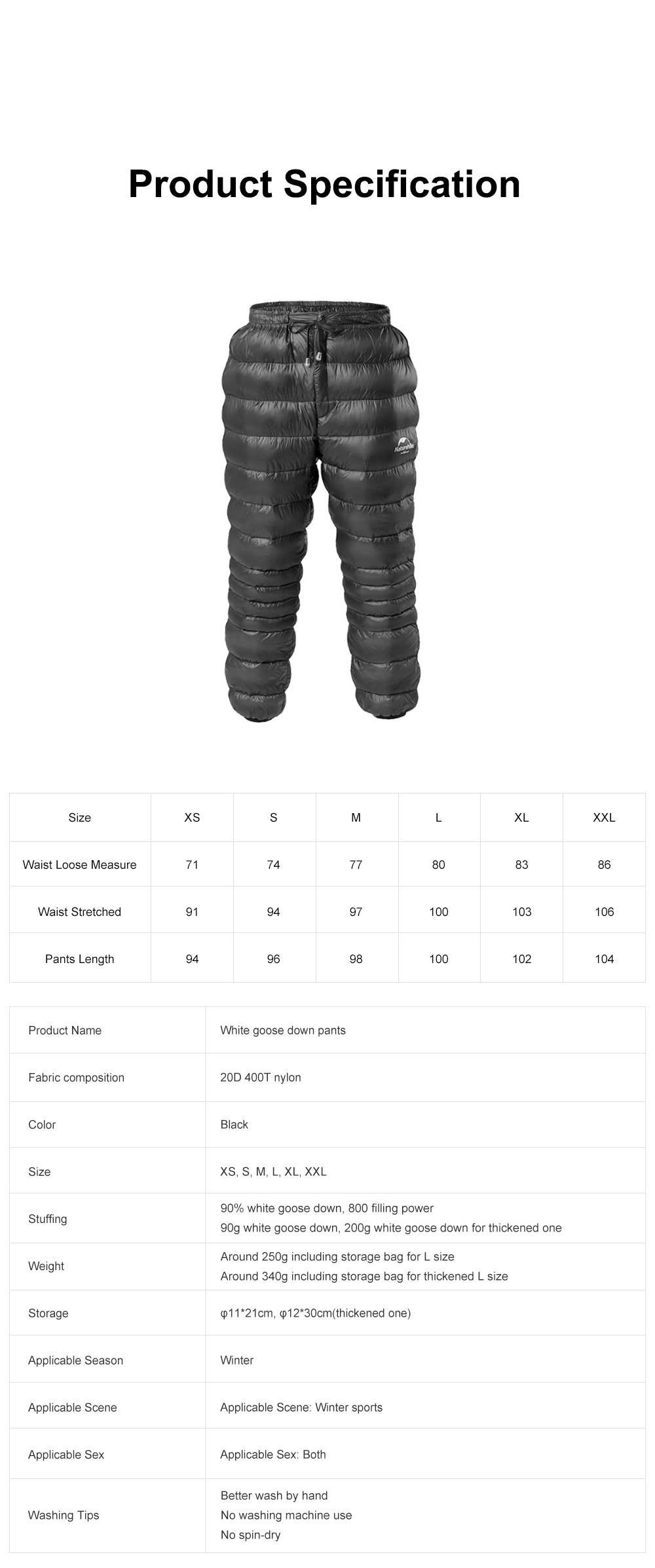 Naturehike White Goose Down Pants for Winter Sports Waterproof Thermal Winter Trousers Windproof Down Wadded Trousers Down Pants 6
