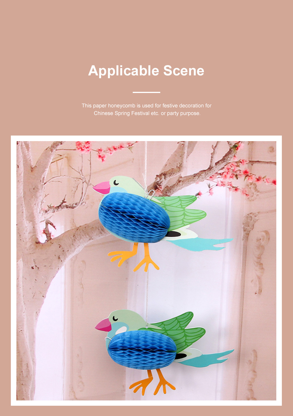 6pcs Festive Decoration Bird Fish Paper Honeycomb Party Use Three-dimensional Card Fish Paper Honeycomb Paper Flowers Ball 4