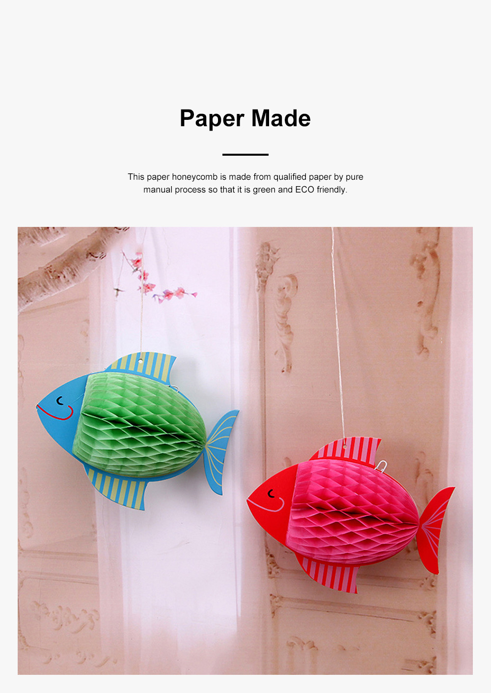 6pcs Festive Decoration Bird Fish Paper Honeycomb Party Use Three-dimensional Card Fish Paper Honeycomb Paper Flowers Ball 5
