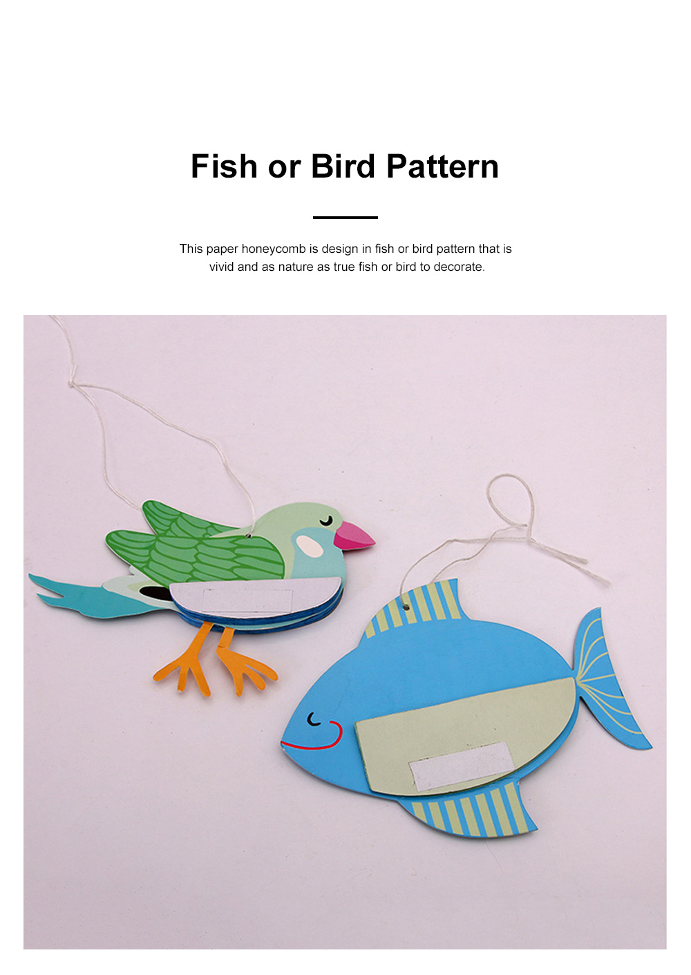 6pcs Festive Decoration Bird Fish Paper Honeycomb Party Use Three-dimensional Card Fish Paper Honeycomb Paper Flowers Ball 3