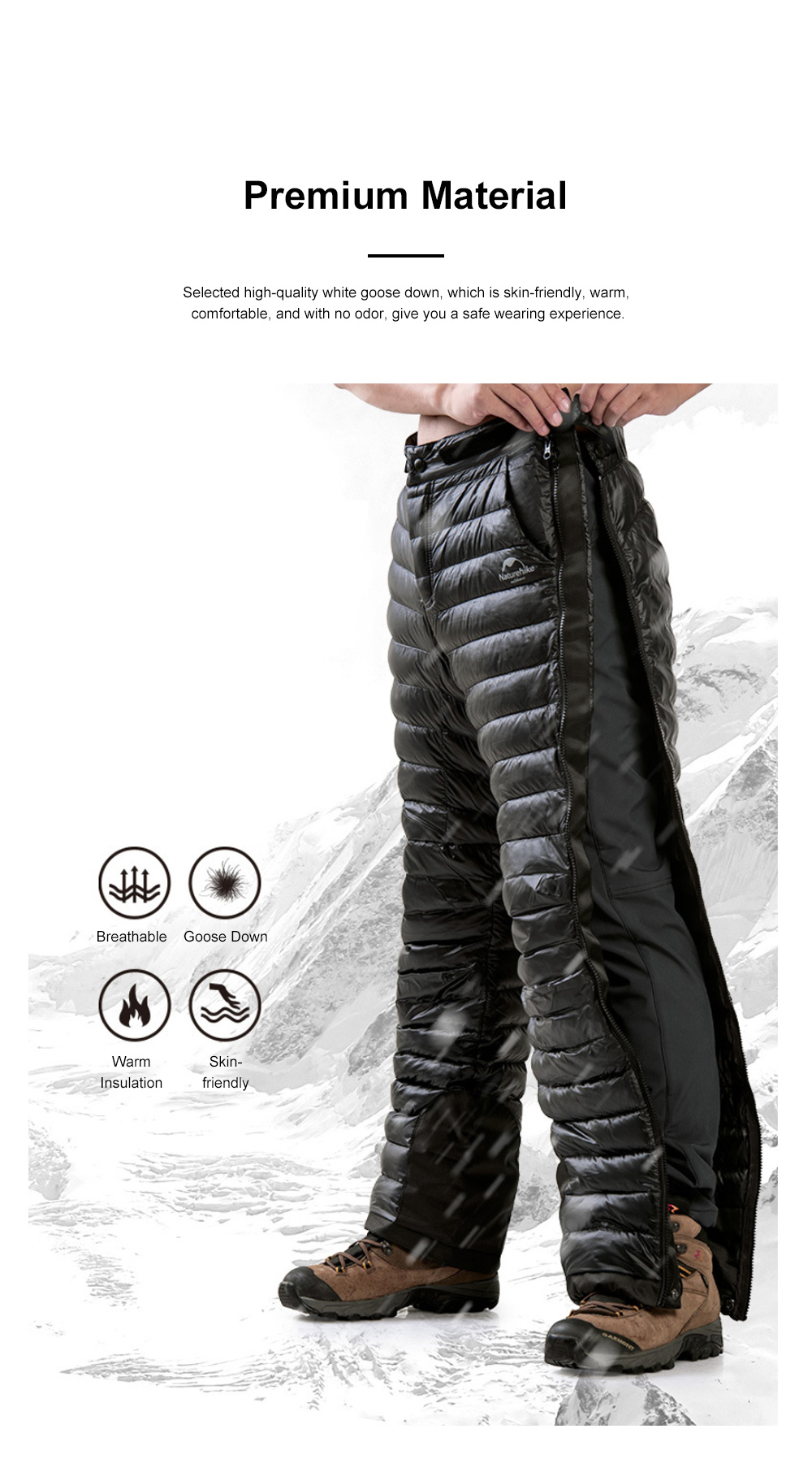 NH 95% Goose Down Pants Windproof and Water-Resistant Insulated Snow Trousers for Winter Outdoor Sport 3