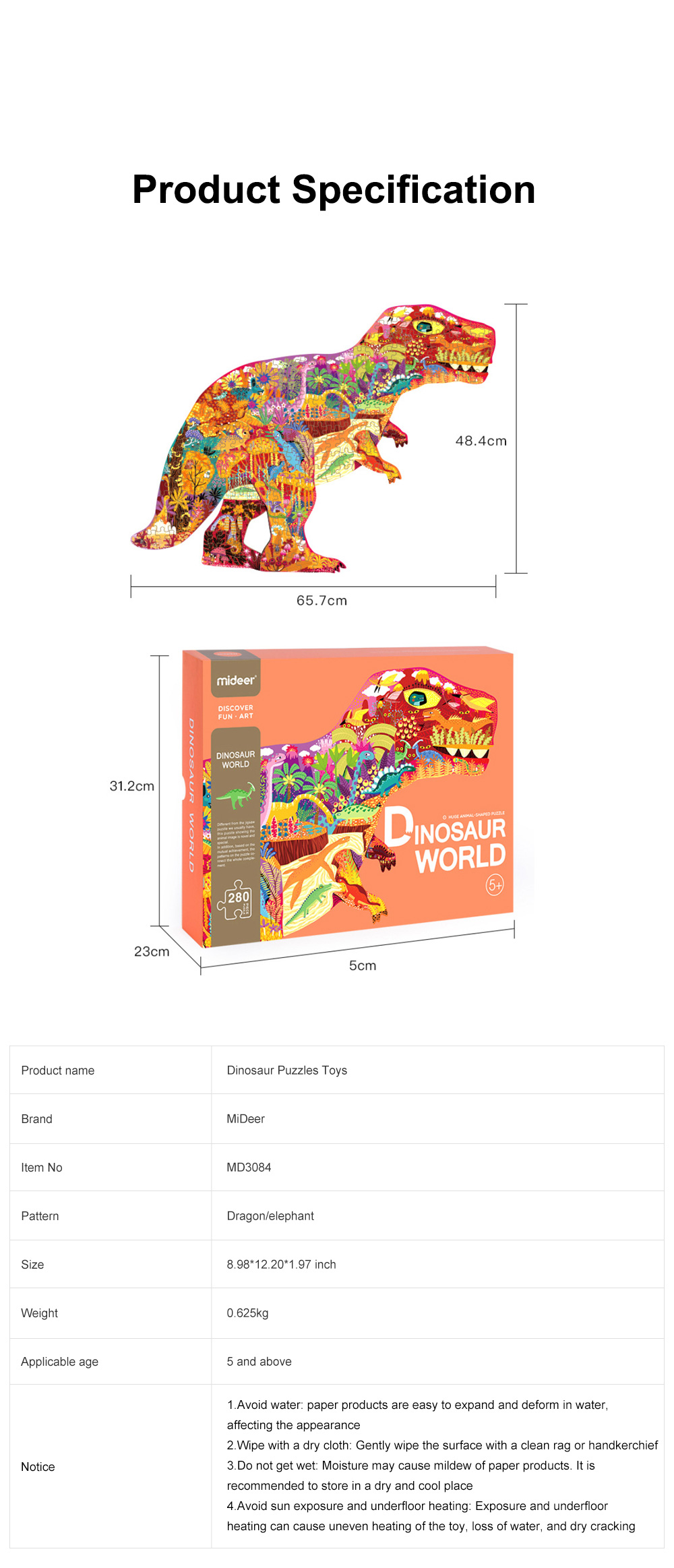 280 Pcs Dinosaur Puzzles Toys with Rich Scenes Educational Puzzle Toys for Above 5 Years Children of and Parent-Child Interaction 6