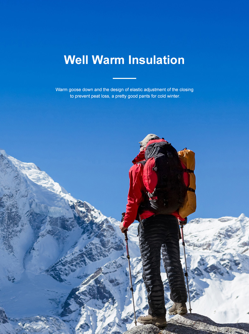 NH 95% Goose Down Pants Windproof and Water-Resistant Insulated Snow Trousers for Winter Outdoor Sport 2