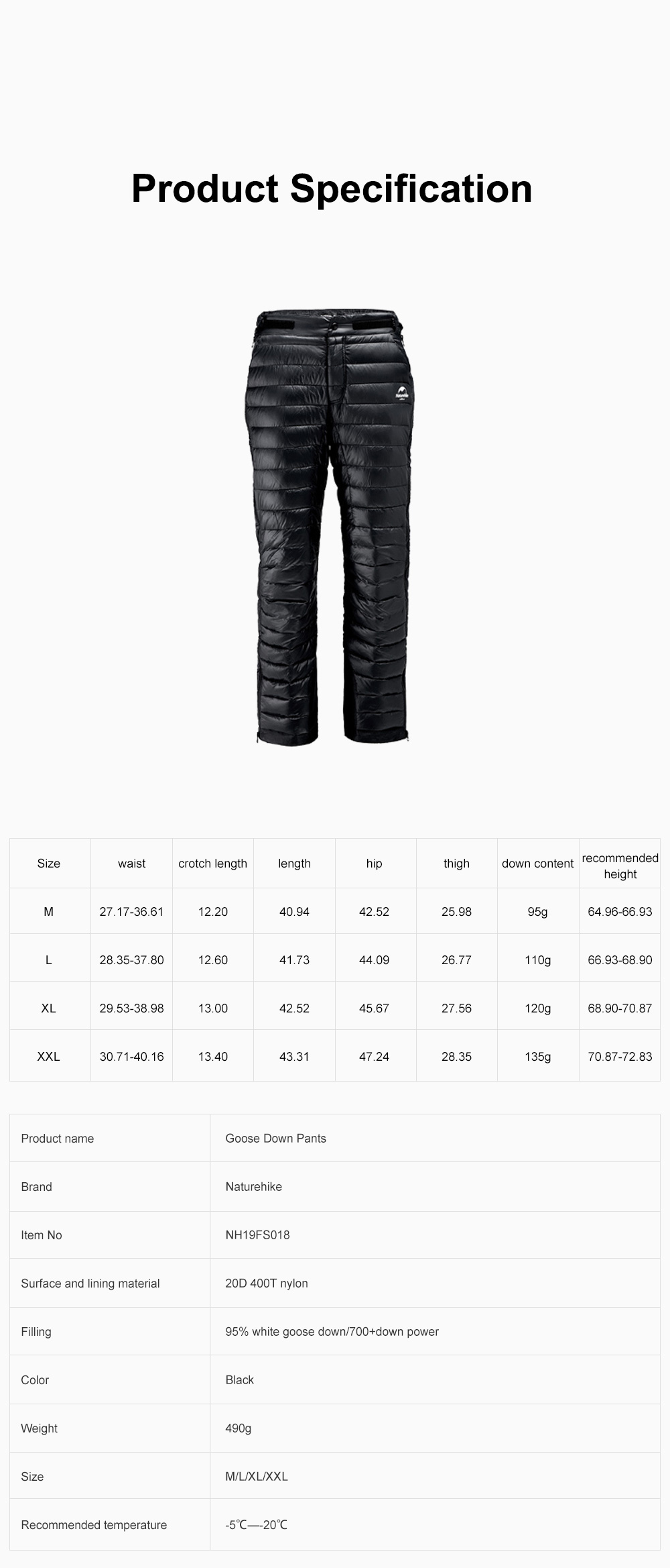 NH 95% Goose Down Pants Windproof and Water-Resistant Insulated Snow Trousers for Winter Outdoor Sport 6
