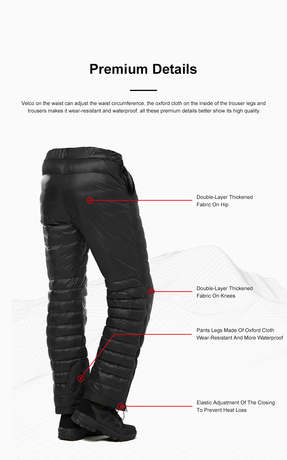 NH 95% Goose Down Pants Windproof and Water-Resistant Insulated Snow Trousers for Winter Outdoor Sport 4