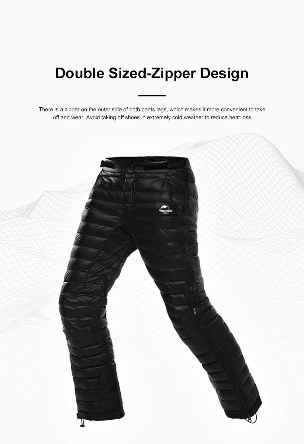 NH 95% Goose Down Pants Windproof and Water-Resistant Insulated Snow Trousers for Winter Outdoor Sport 1