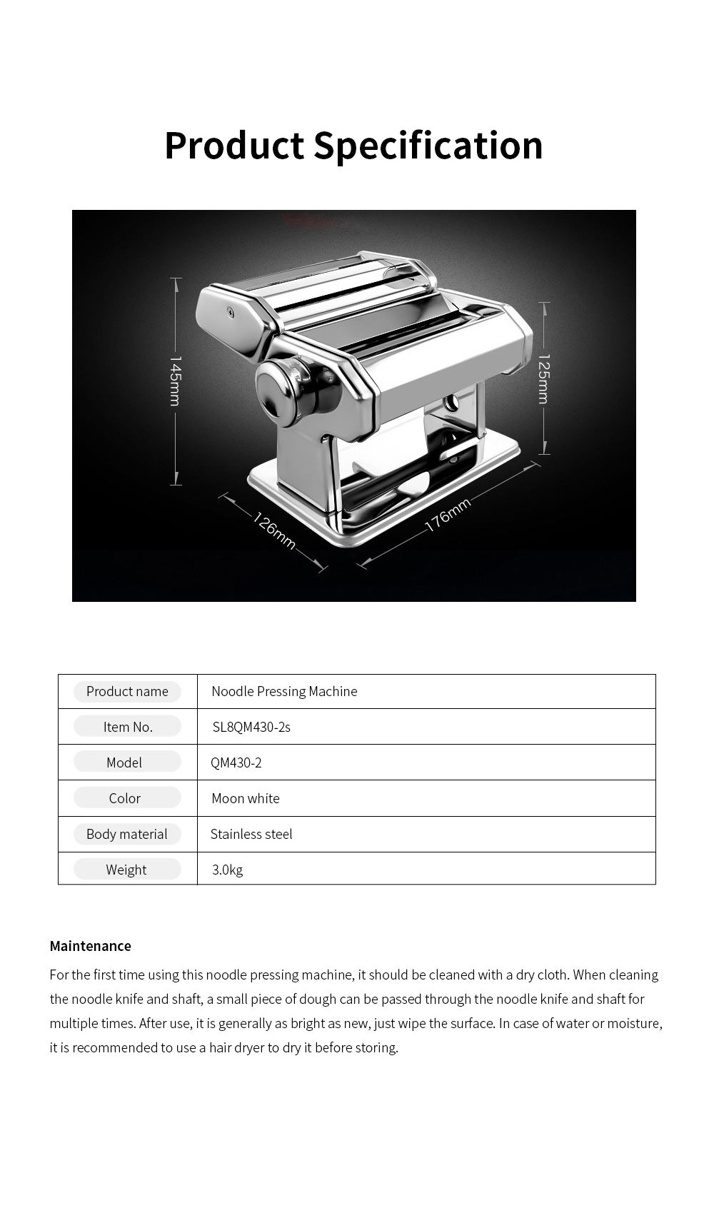 Household Noodle Pressing Machine Stainless Steel Noodle Cutting Machine with 7-Level Thickness Adjustment 6