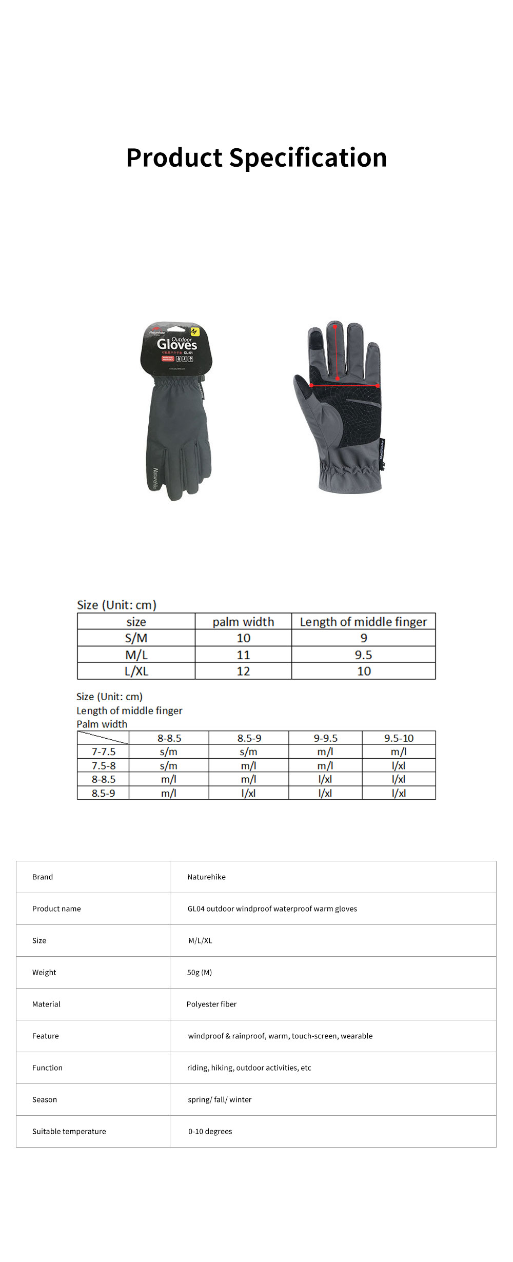 Naturehike GL04 Touch Screen Wind-proof Rain-proof Outdoor Warm Gloves High Quality Velvet Thicken Hand Protectors for Men and Women 12