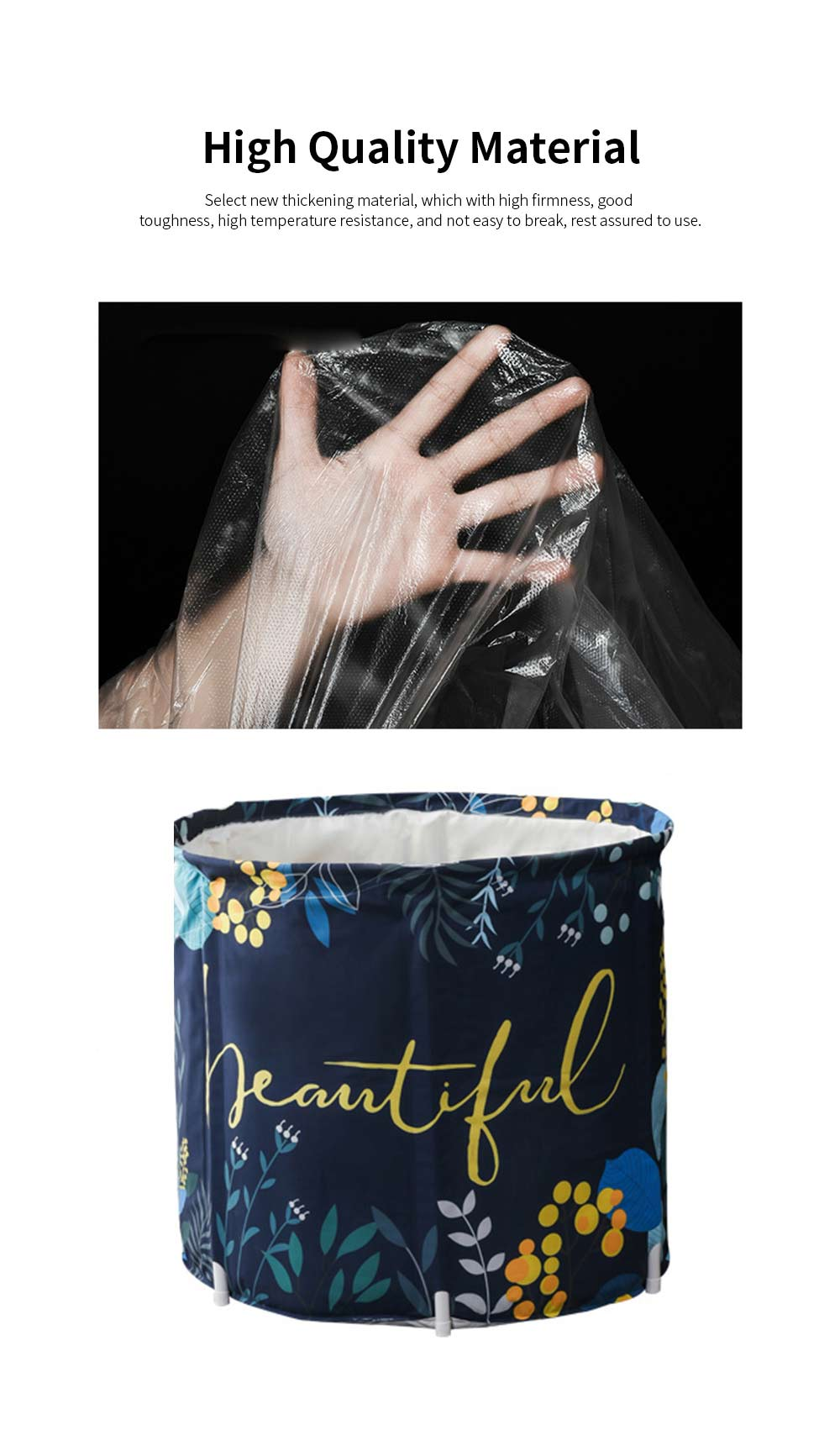 Foldable Home Bathtub Portable Thickened Body Bath Barrel with Good Insulation Performance and No Require of Inflate 1