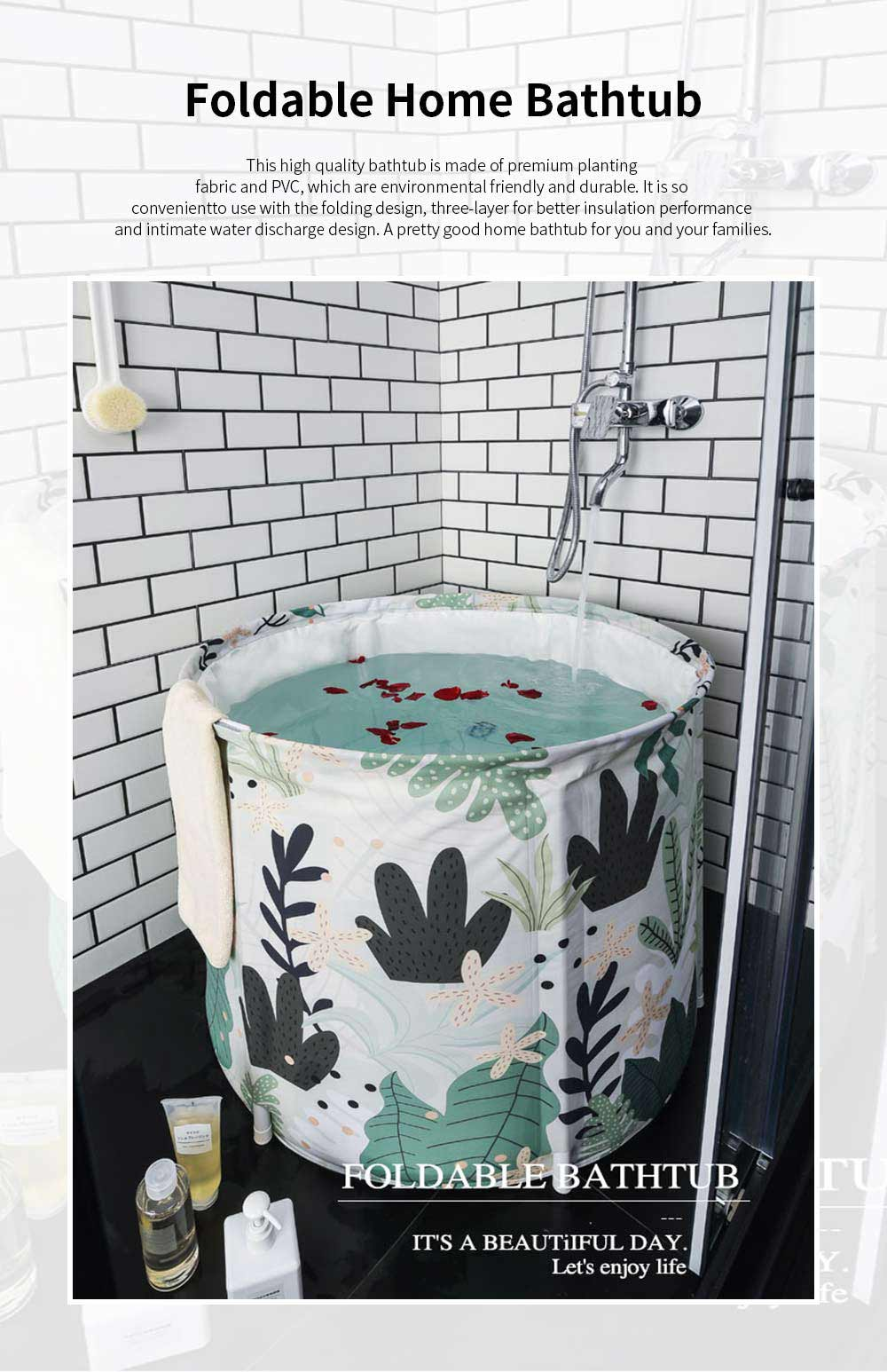 Foldable Home Bathtub Portable Thickened Body Bath Barrel with Good Insulation Performance and No Require of Inflate 0