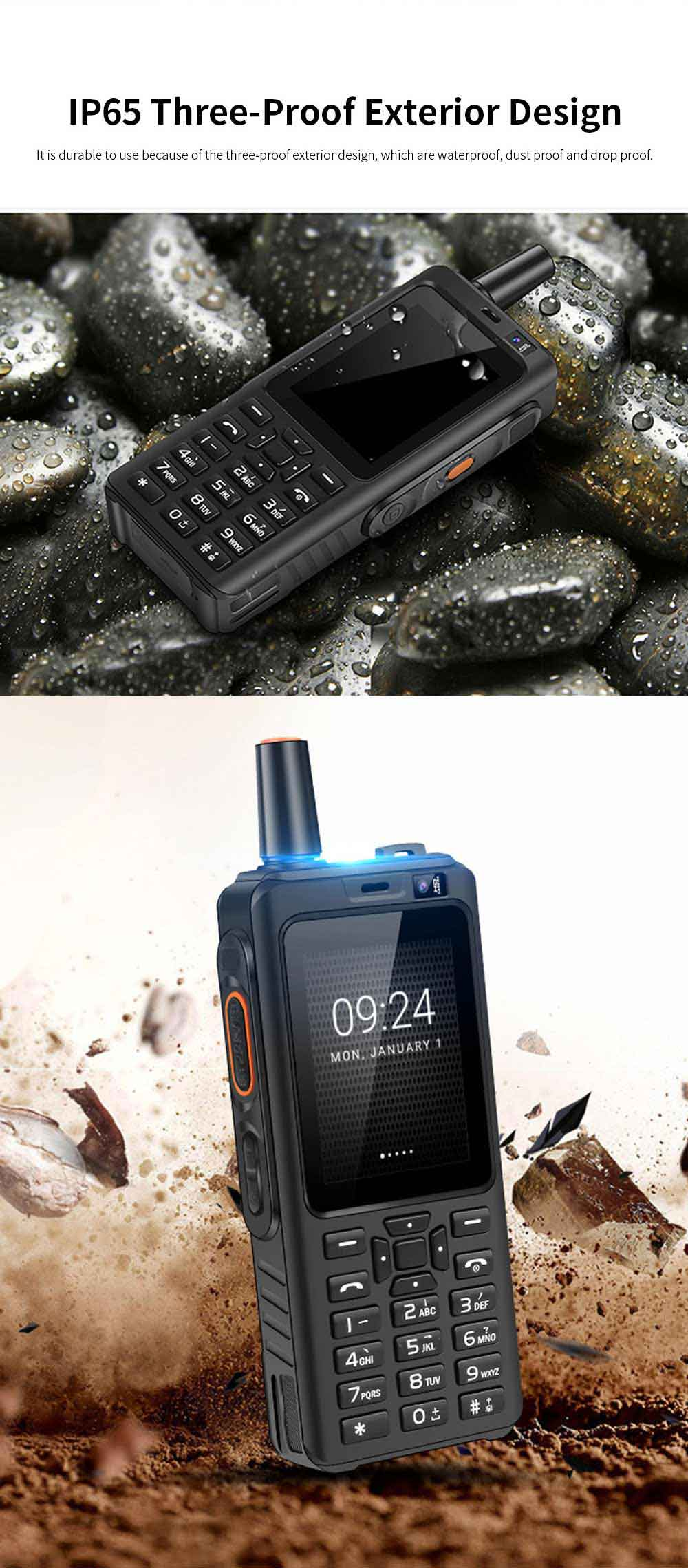 UNIWA F22 Rechargeable 4G Two-Way Radios Walkie Talkies 4000mAh Battery Powered 2.4 Inch Screen GPS Android Smart PPT Intercom Phone 2