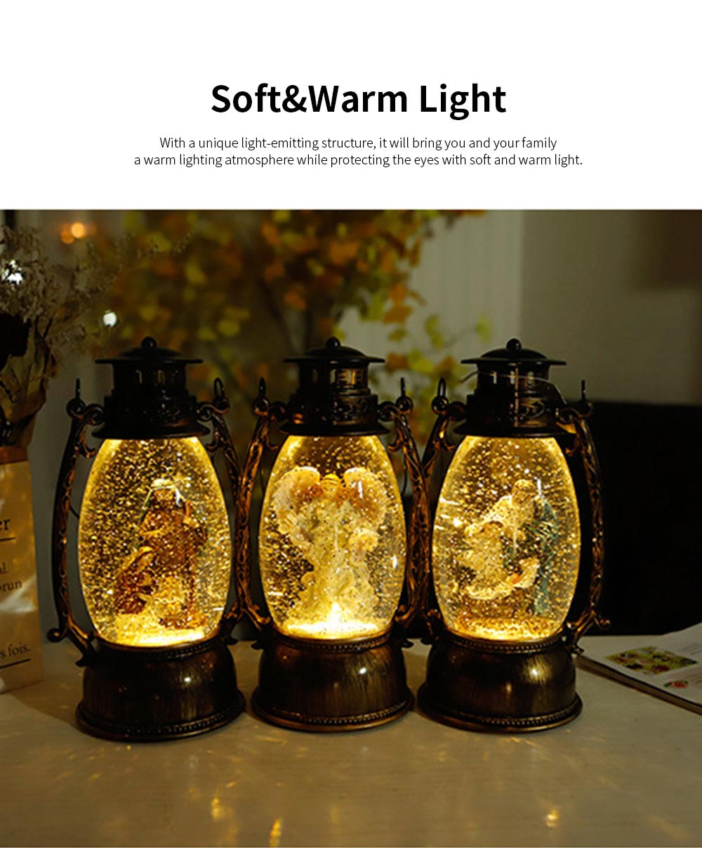 Christmas Resin Table Lamp European Retro Oval Lantern Light for Living Room Bedroom Home Decoration with Warm Light Shockproof Creative Design 3