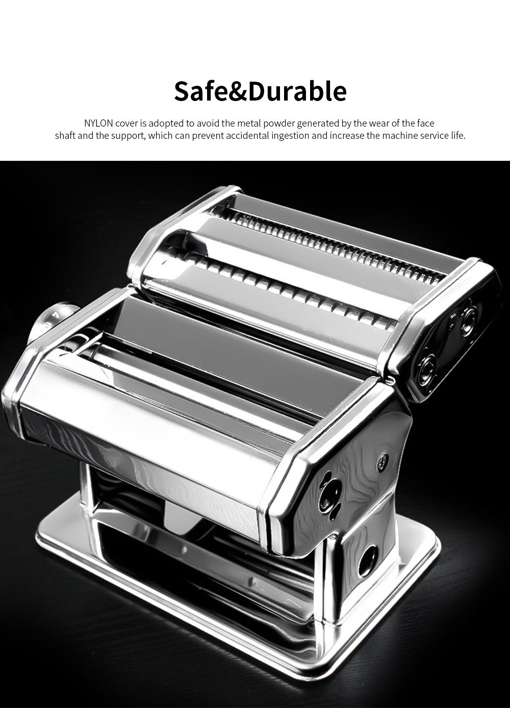 Household Noodle Pressing Machine Stainless Steel Noodle Cutting Machine with 7-Level Thickness Adjustment 2