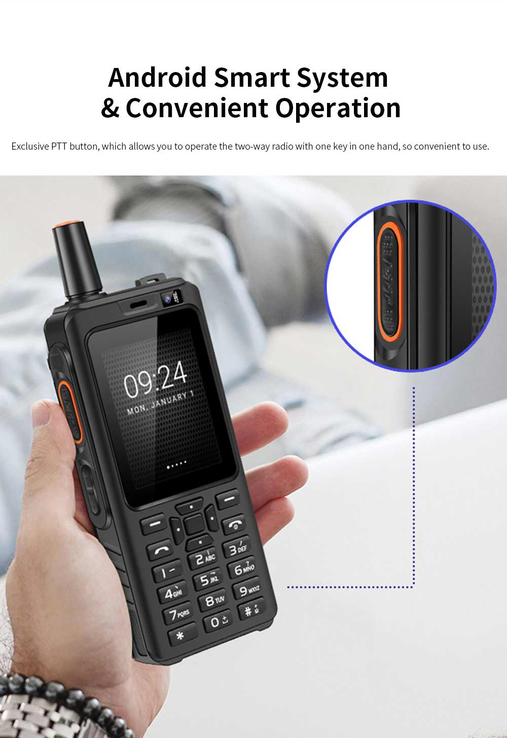 UNIWA F22 Rechargeable 4G Two-Way Radios Walkie Talkies 4000mAh Battery Powered 2.4 Inch Screen GPS Android Smart PPT Intercom Phone 3