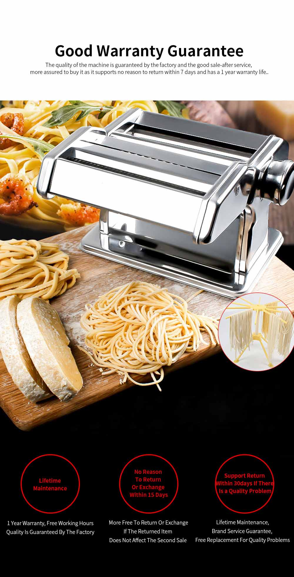 Household Noodle Pressing Machine Stainless Steel Noodle Cutting Machine with 7-Level Thickness Adjustment 5