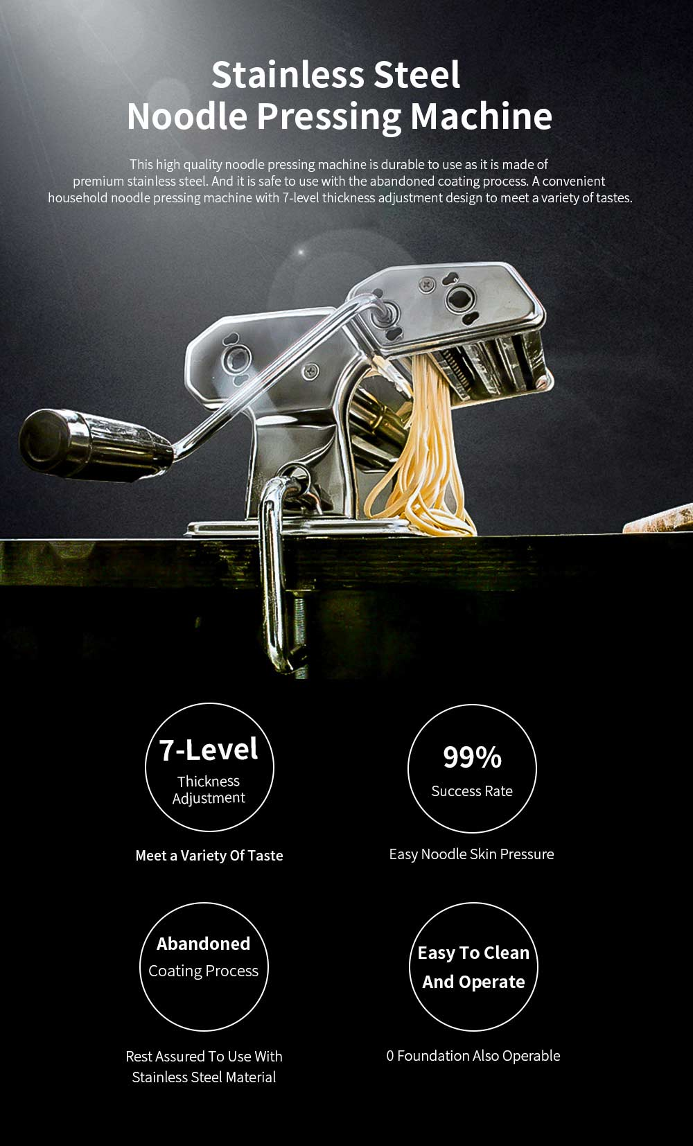 Household Noodle Pressing Machine Stainless Steel Noodle Cutting Machine with 7-Level Thickness Adjustment 0