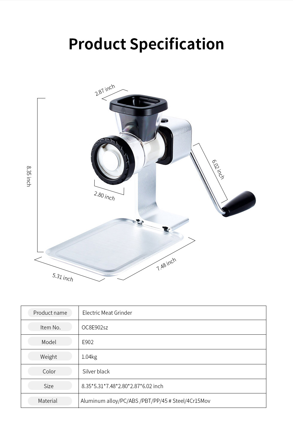 Electric Meat Grinder Metal 2-in-1 Food Chopping Machine and Sausage Stuffer with Quick Thaw Board and Sharp Blade 7