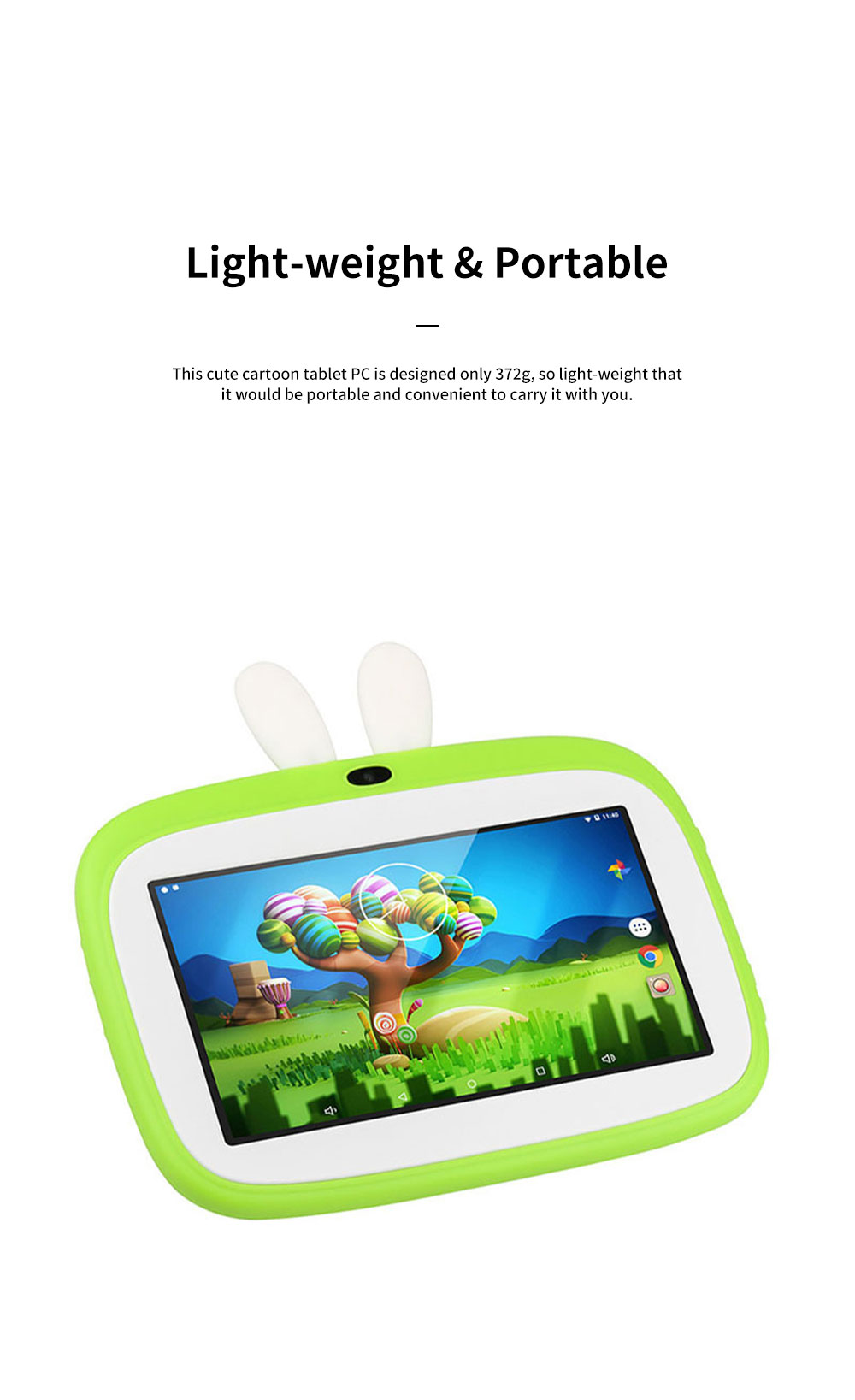 Cute Cartoon 7 Inch Screen HD 1024*600 Children Tablet Computer Quad Core Rabbit Style Tablet PC 1G 8GB Christmas Gift for Kids 4