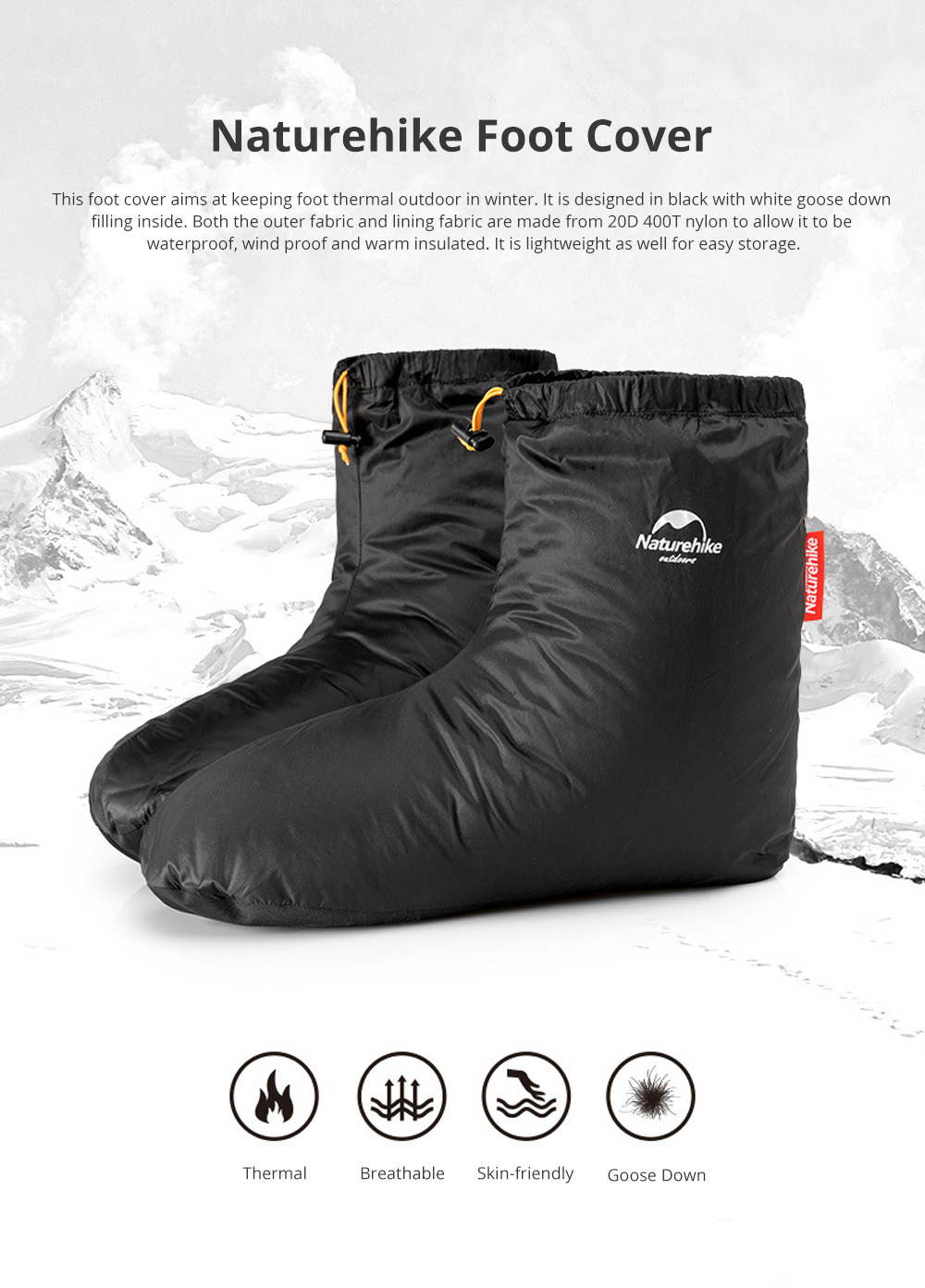 Naturehike Goose Down Foot Shoes Cover for Outdoor Use Wind Proof and Waterproof Foot Cover Thermal Lightweight 0