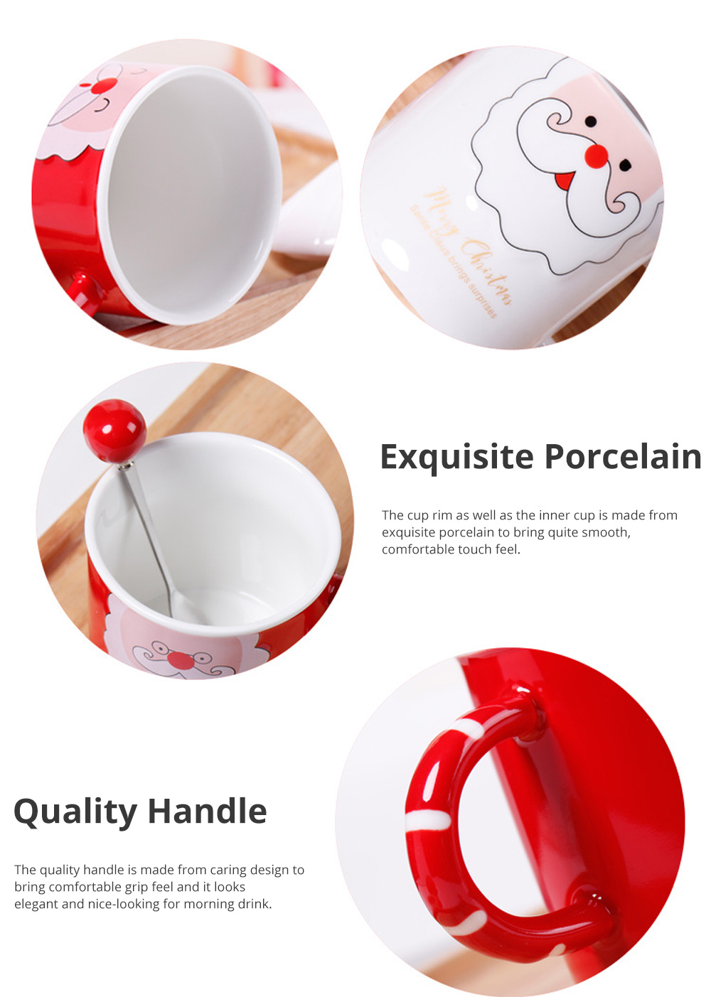 Santa Claus Ceramic Cup for Gifts Family Use Creative Mug with Spoon Easy to Clean and Safe Water Cup Christmas Gift 1