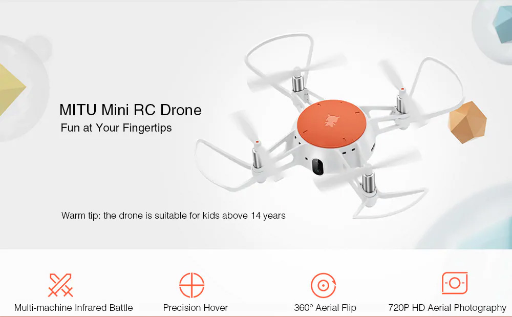 Xiaomi Portable Functional Quadcopter with Mini RC Drone WiFi FPV 720P HD Camera Headless Mode Precision Hover White 0