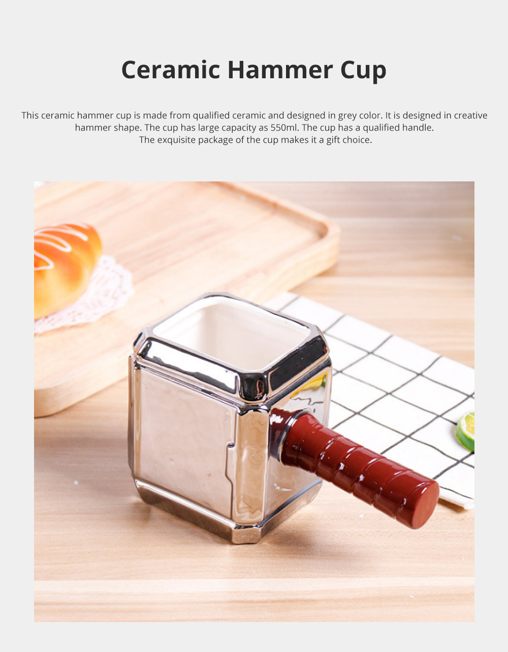 Ceramic Hammer Cup for Gift Choice Family Use Large Capacity Mug Personalized 3D Hammer Water Cup 0