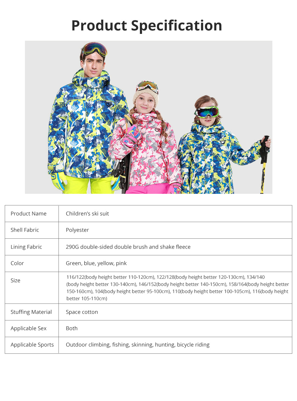 Phibee Children's Ski Suit for Outdoor Activity Thickened Windproof Winter Jacket and Pants Thermal and Antiwear Outdoor Apparel 13