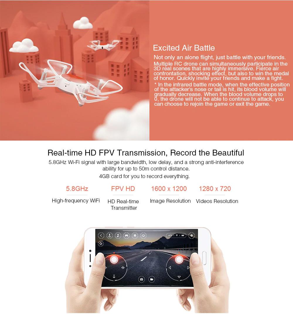Xiaomi Portable Functional Quadcopter with Mini RC Drone WiFi FPV 720P HD Camera Headless Mode Precision Hover White 4
