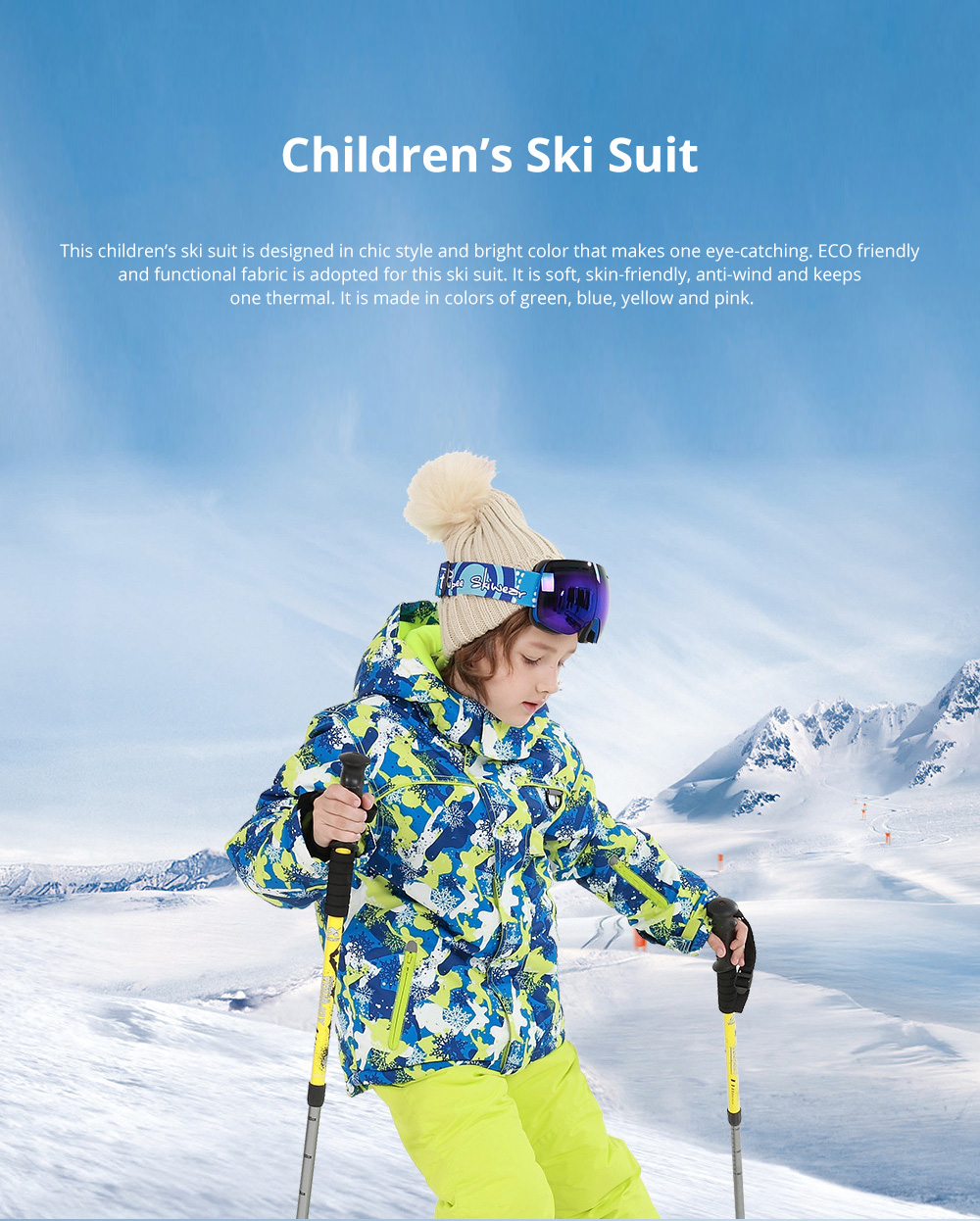 Phibee Children's Ski Suit for Outdoor Activity Thickened Windproof Winter Jacket and Pants Thermal and Antiwear Outdoor Apparel 0
