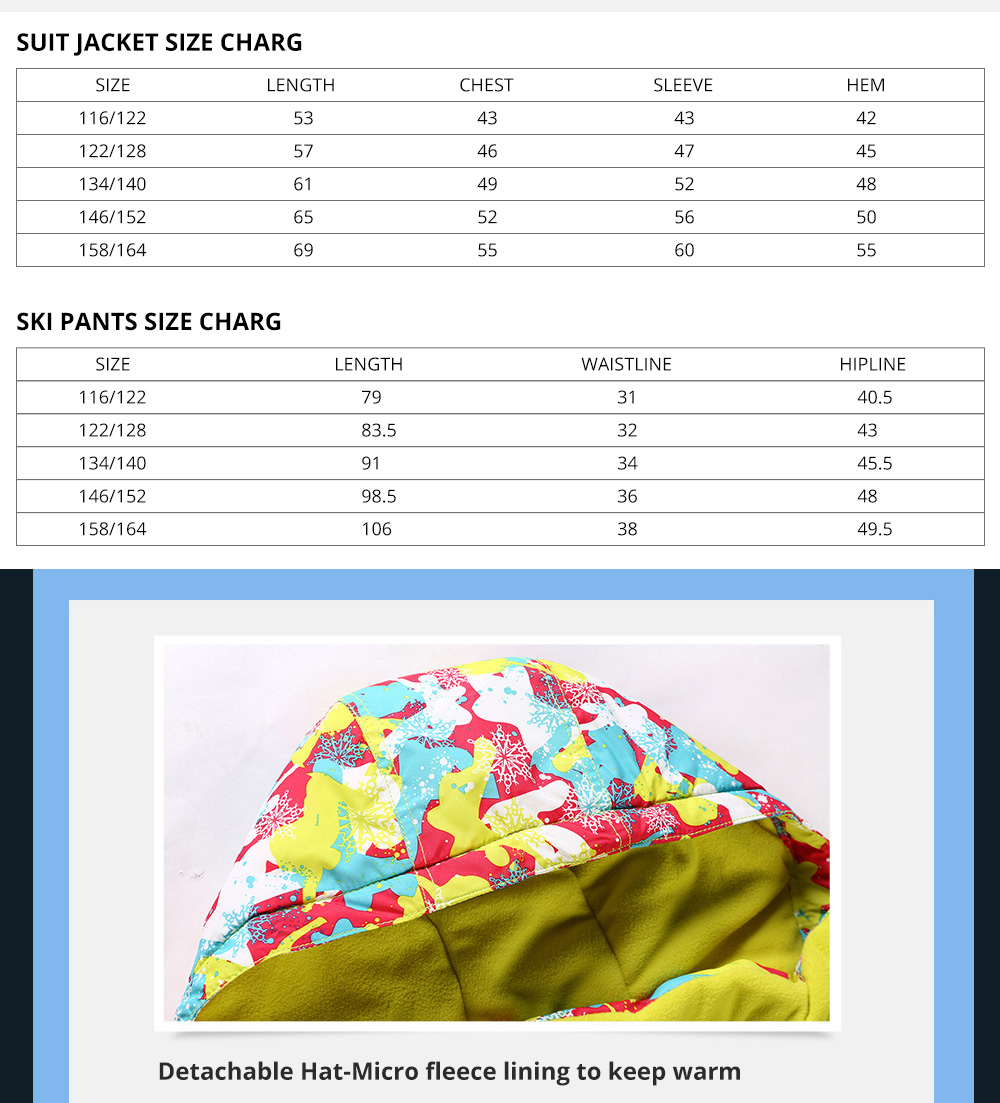 Phibee Children's Ski Suit for Outdoor Activity Thickened Windproof Winter Jacket and Pants Thermal and Antiwear Outdoor Apparel 7