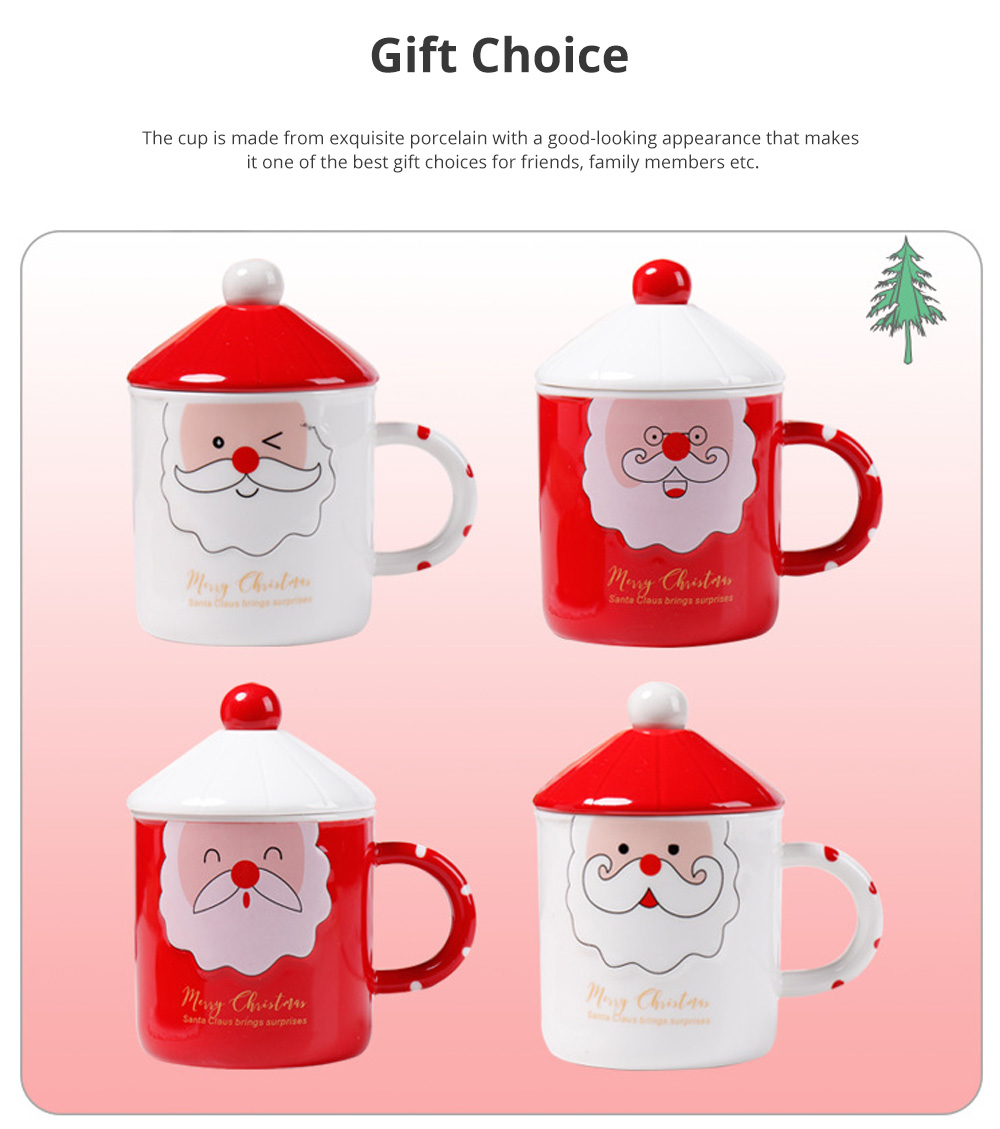 Santa Claus Ceramic Cup for Gifts Family Use Creative Mug with Spoon Easy to Clean and Safe Water Cup Christmas Gift 4