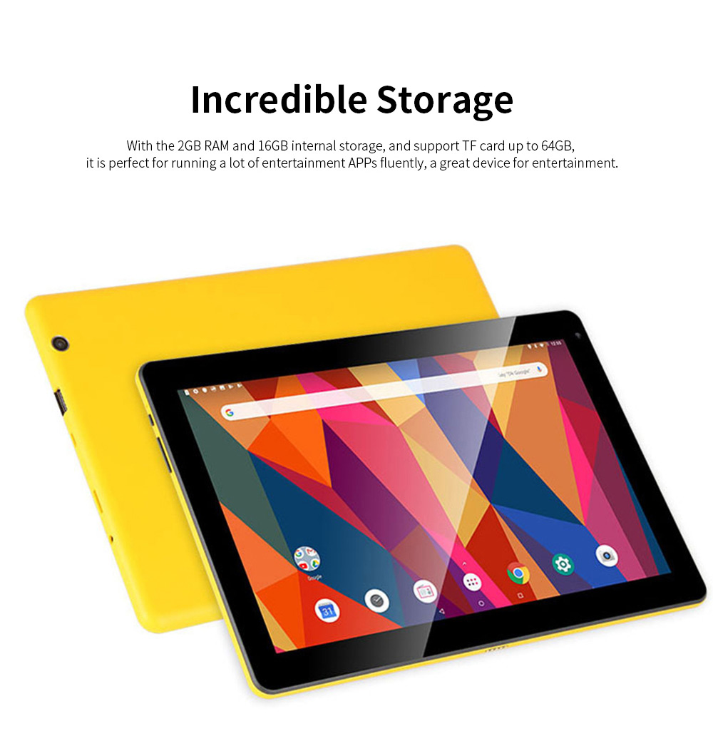 10.1 Inch Tablet PC Android 8.1 Dual Camera and USB 2GB RAM 16GB ROM Touchscreen Wifi Bluetooth Tablet with 6000mAh Battery 3